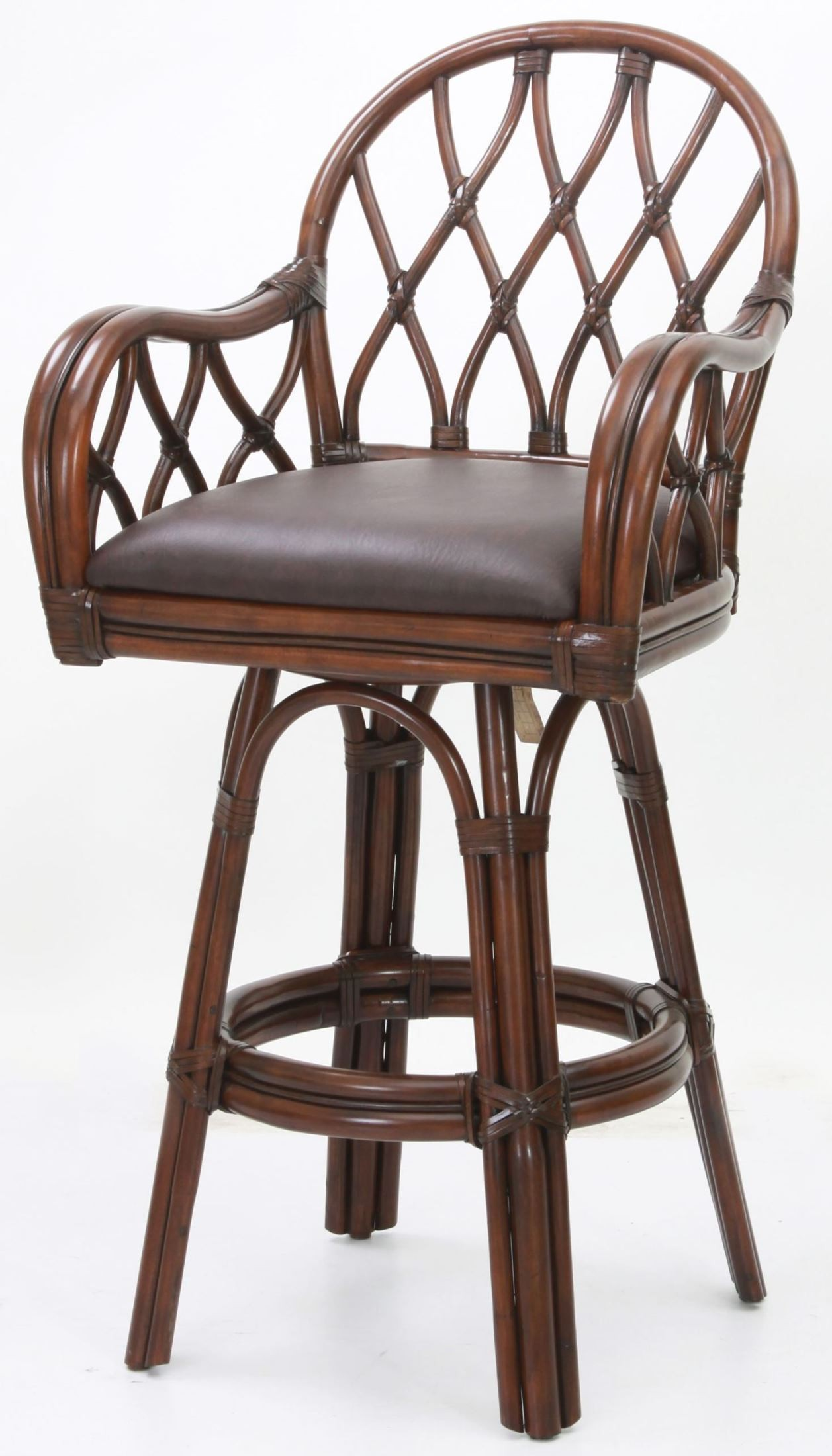 Dark Brown Bonded Leather 30 Quot Rattan Frame Stool B3 301