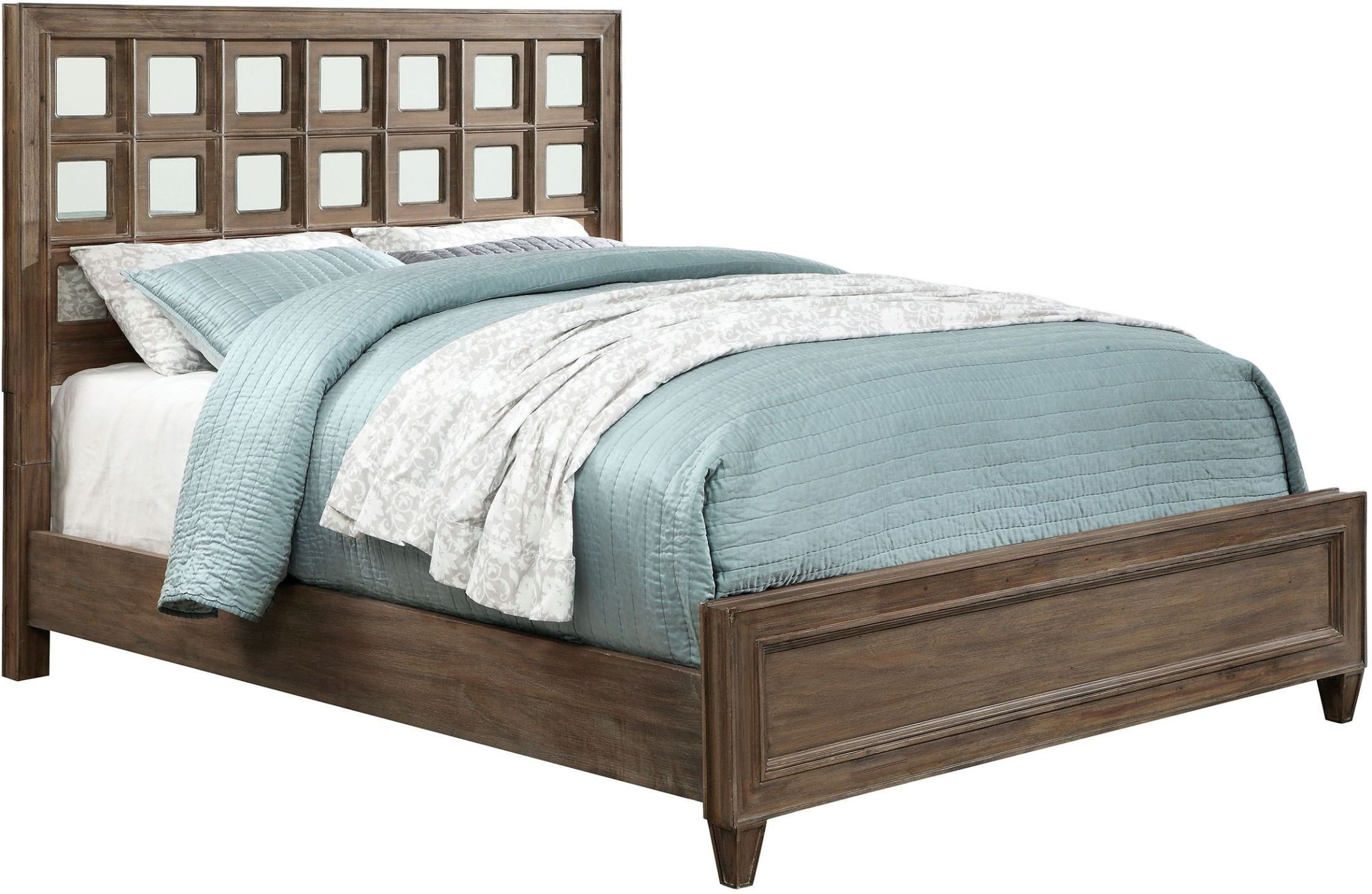 Frontera rustic oak cal king panel bed cm7586ck for Furniture of america king bed