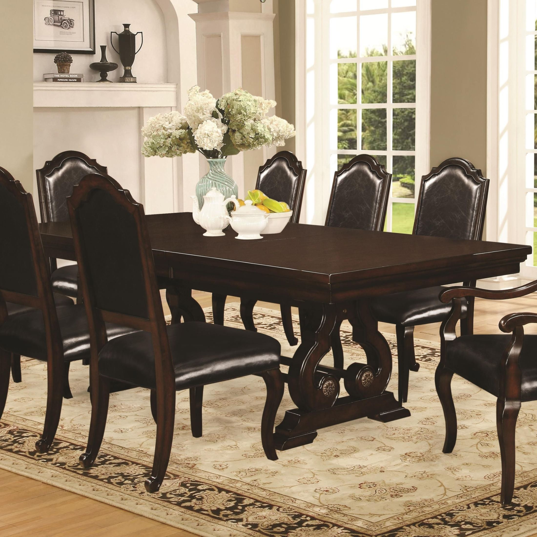 Bedford Dark Mahogany Rectangular Trestle Dining Table  : bedford10560105601 b0 from colemanfurniture.com size 2200 x 2200 jpeg 729kB