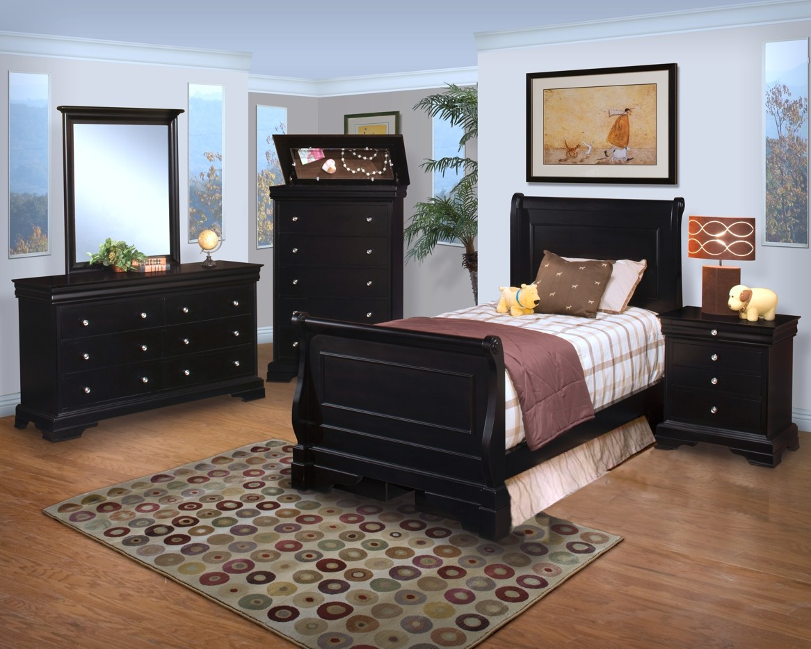 Belle rose black cherry youth sleigh bedroom set from new for Youth bedroom furniture