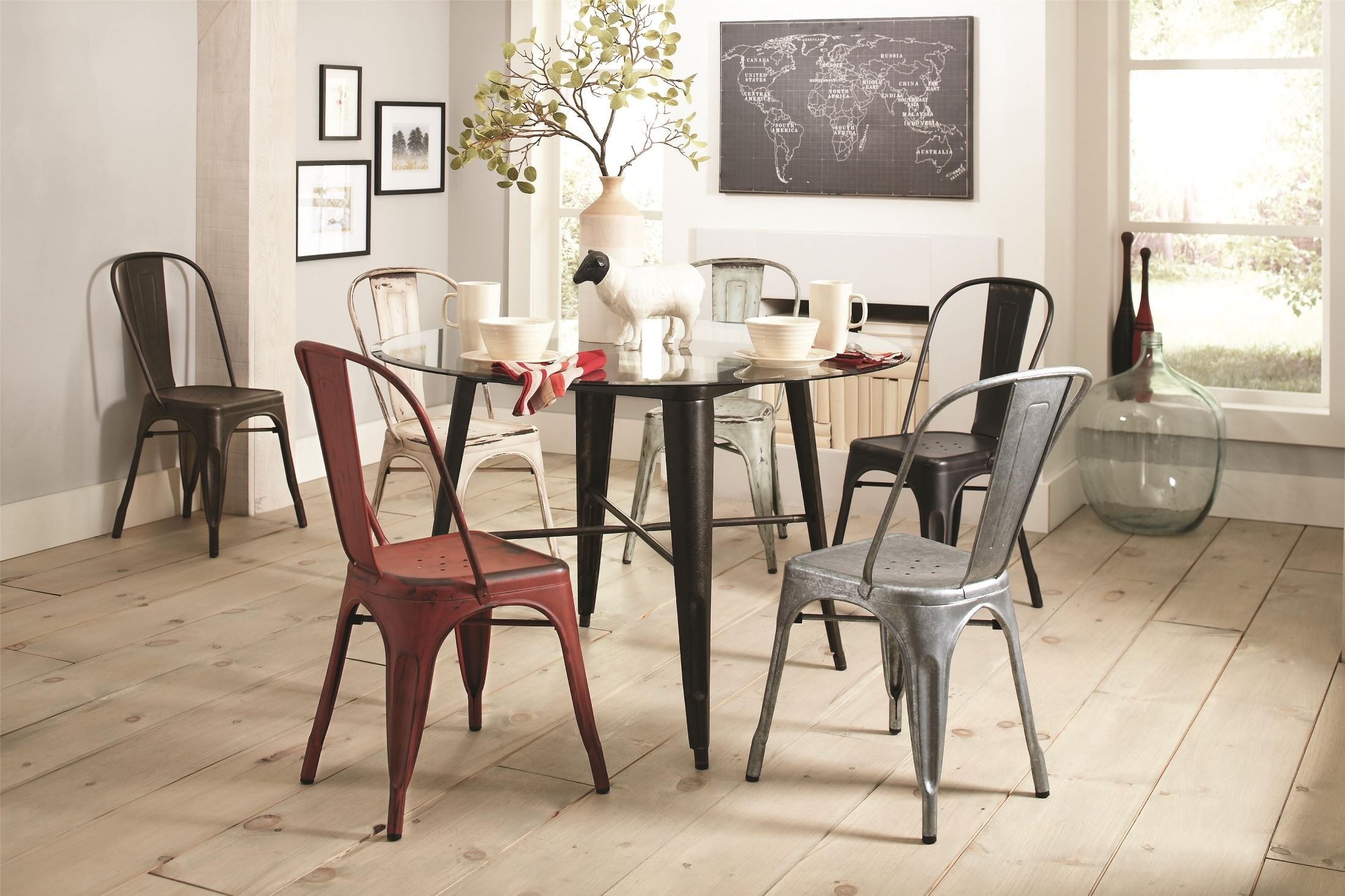Bellevue Glass Top Round Dining Room Set 105610 CB48RD