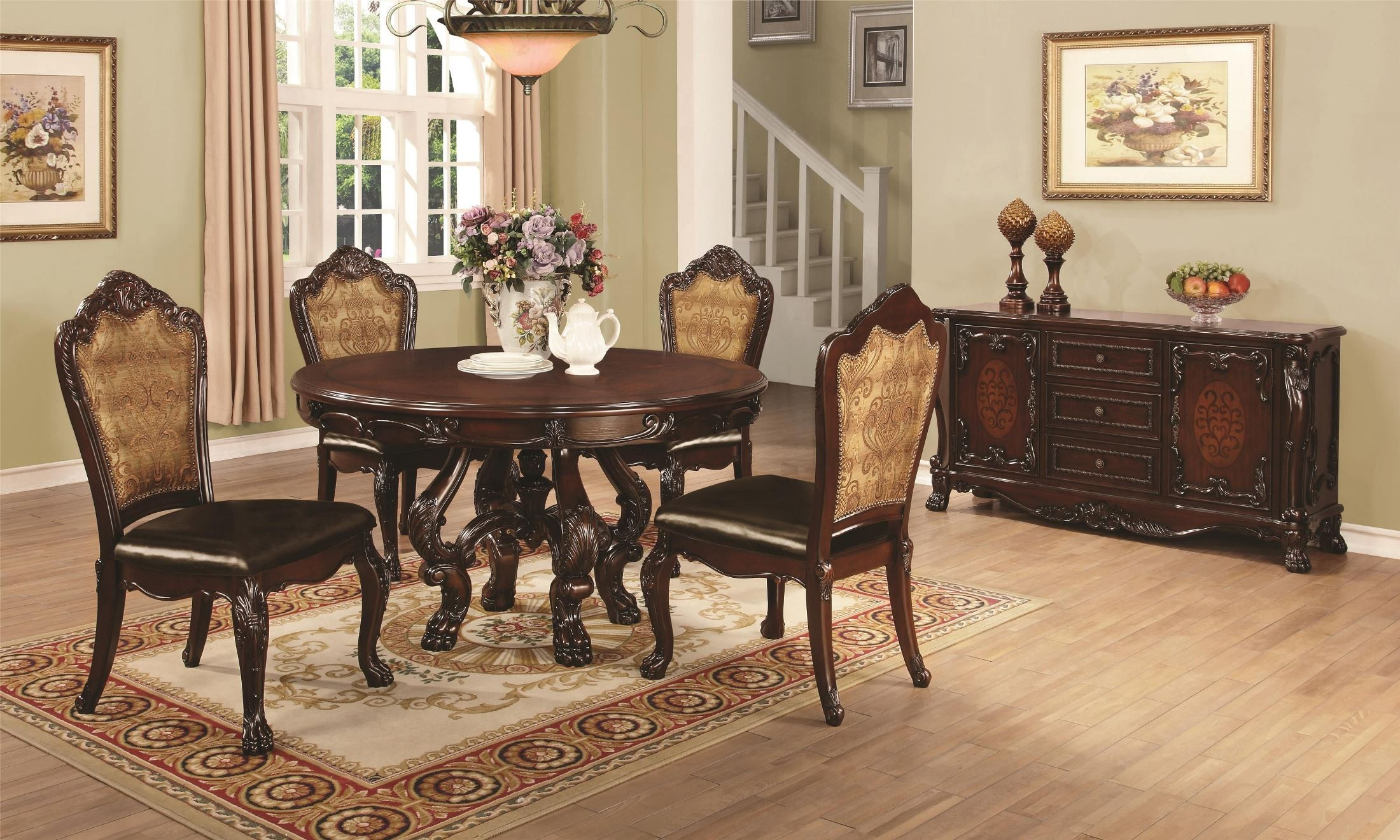 Abigail Cherry Round Pedestal Dining Room Set from Coaster (105510 ...