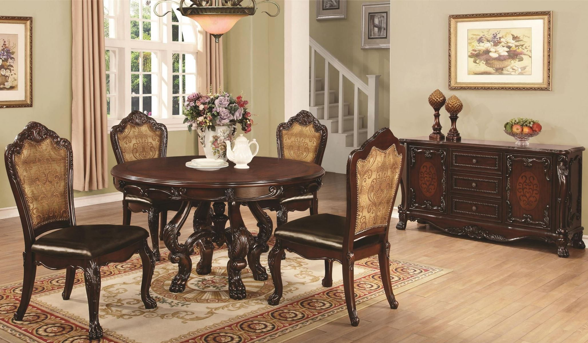 Abigail cherry round pedestal dining room set from coaster for Cherry dining room set