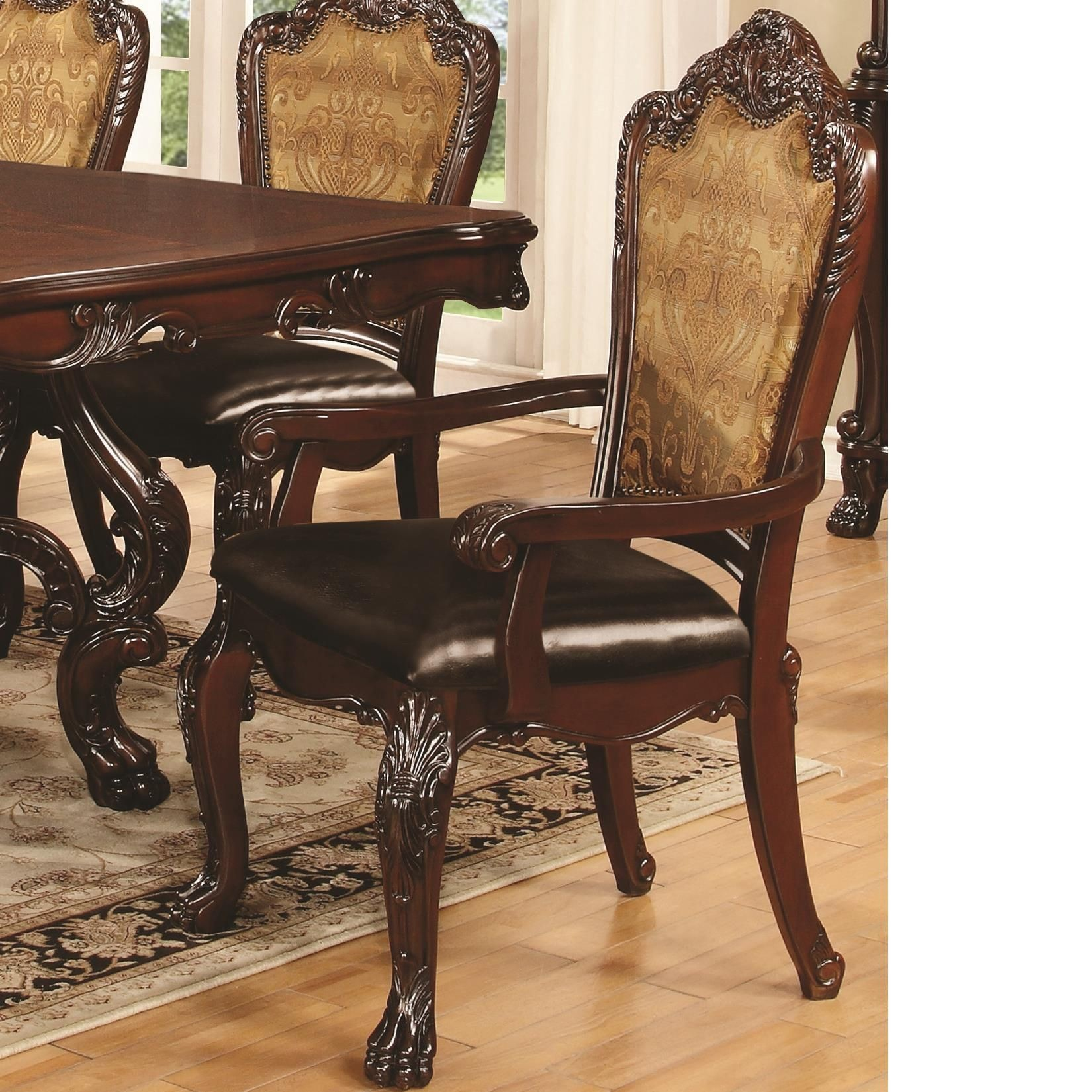 Abigail Cherry Upholstered Dining Arm Chair Set of 2 from ...