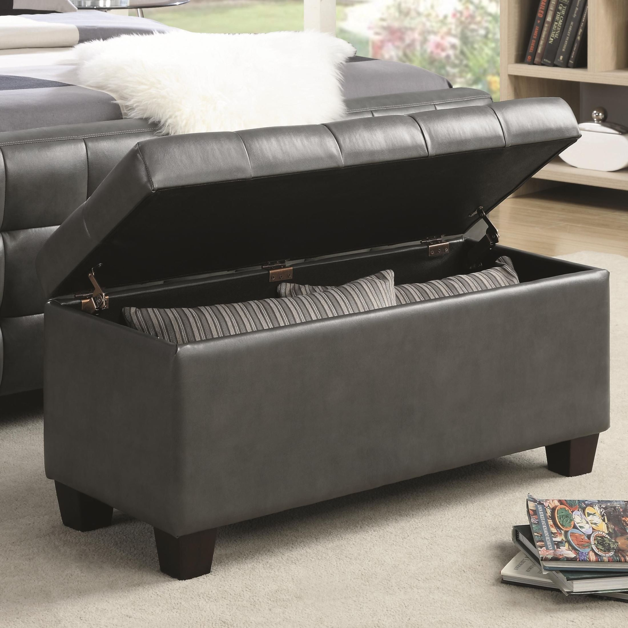 500127 gray faux leather rectangular storage bench from coaster 500127 coleman furniture Gray storage bench