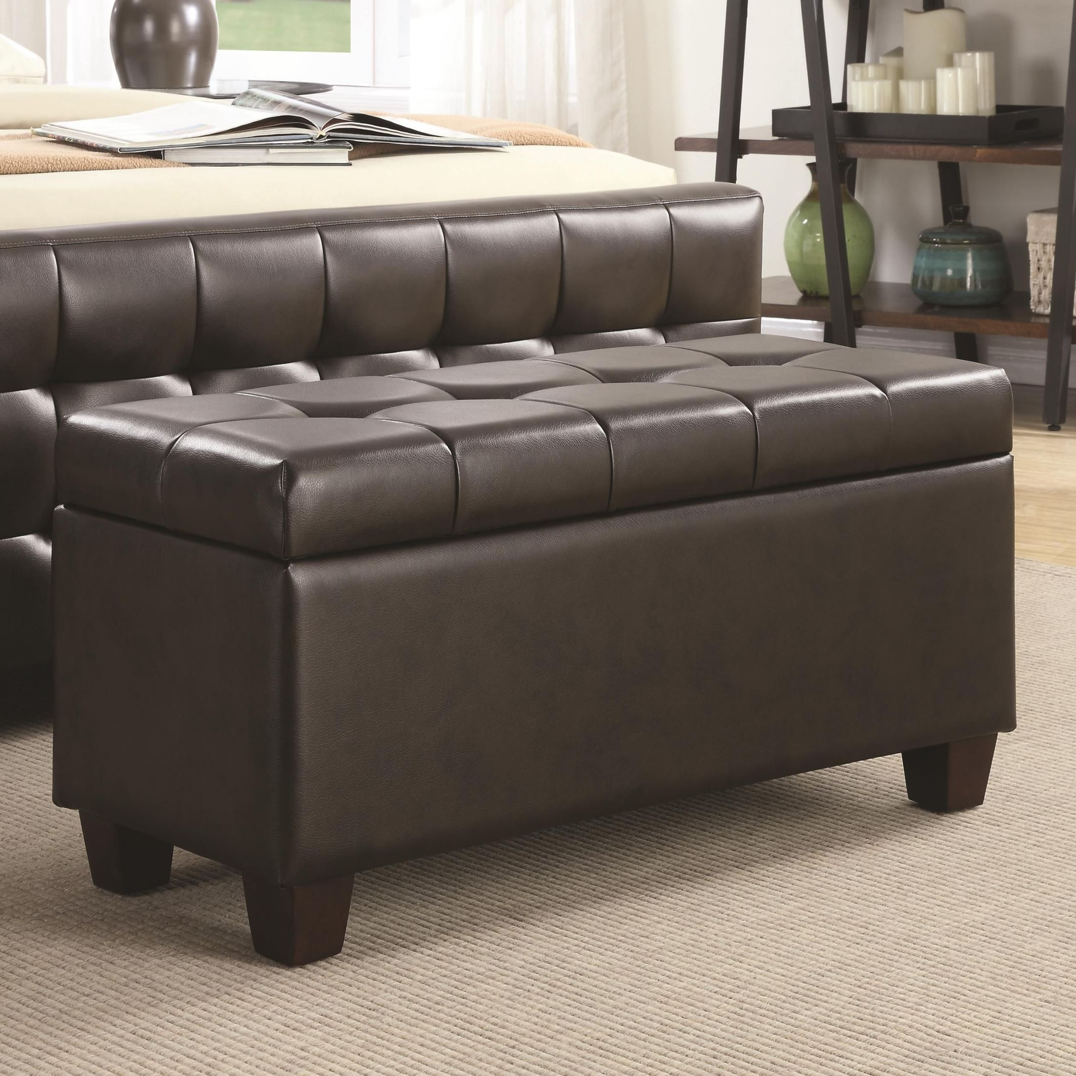 500128 Brown Faux Leather Rectangular Storage Bench From Coaster 500128 Coleman Furniture