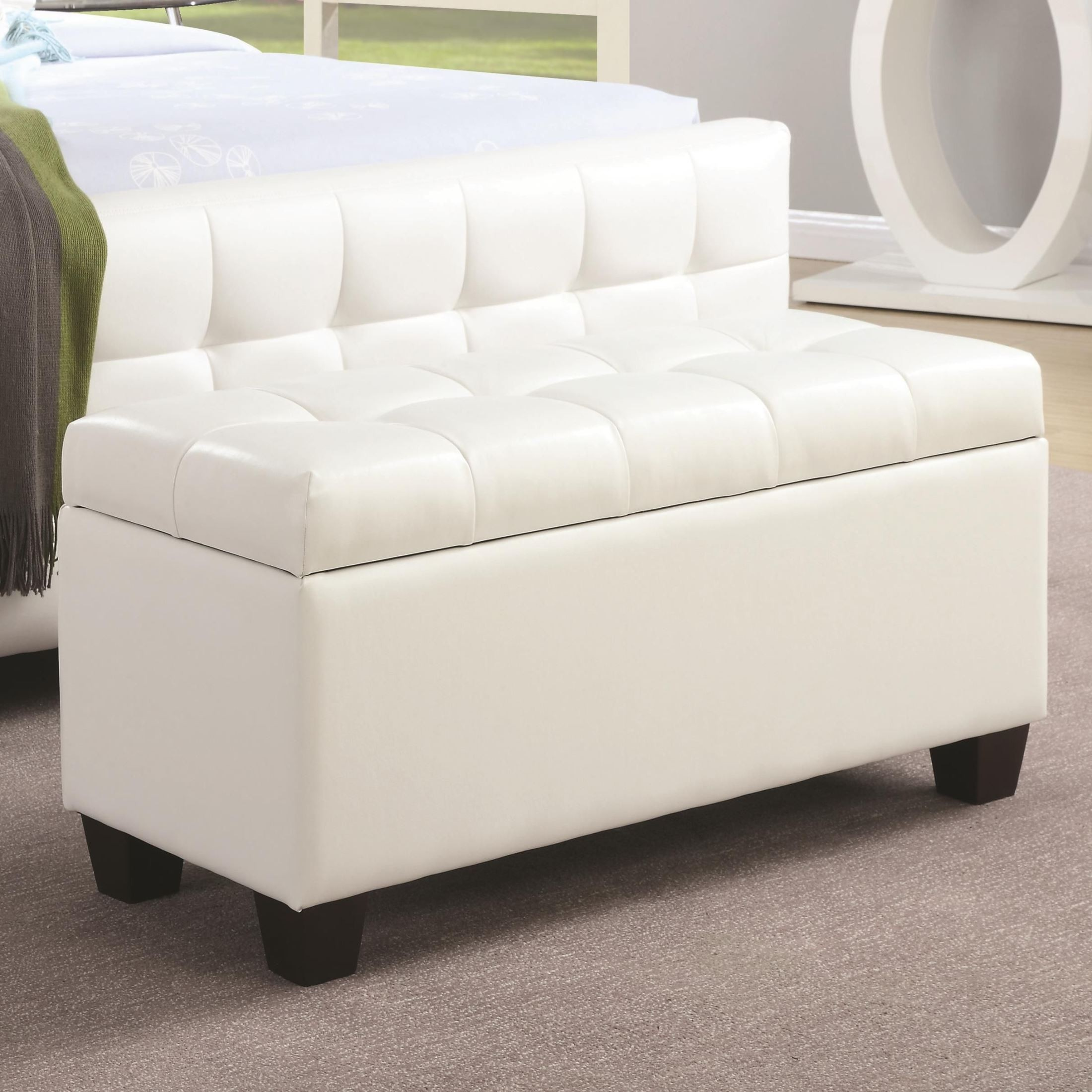 500129 White Faux Leather Rectangular Storage Bench From Coaster 500129 Coleman Furniture