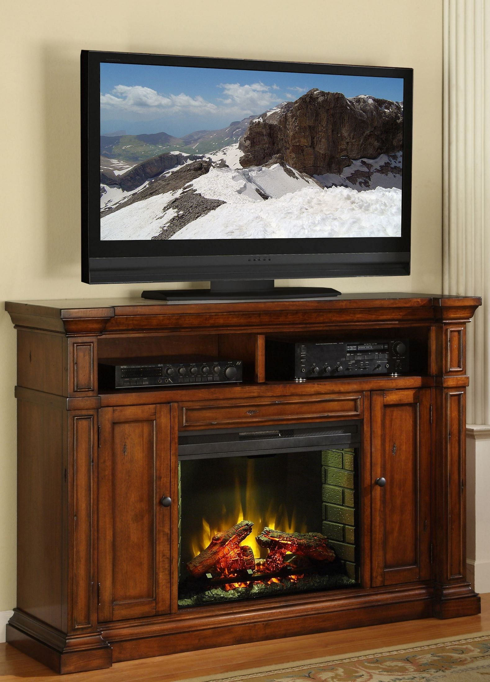 berkshire old world umber fireplace media center from
