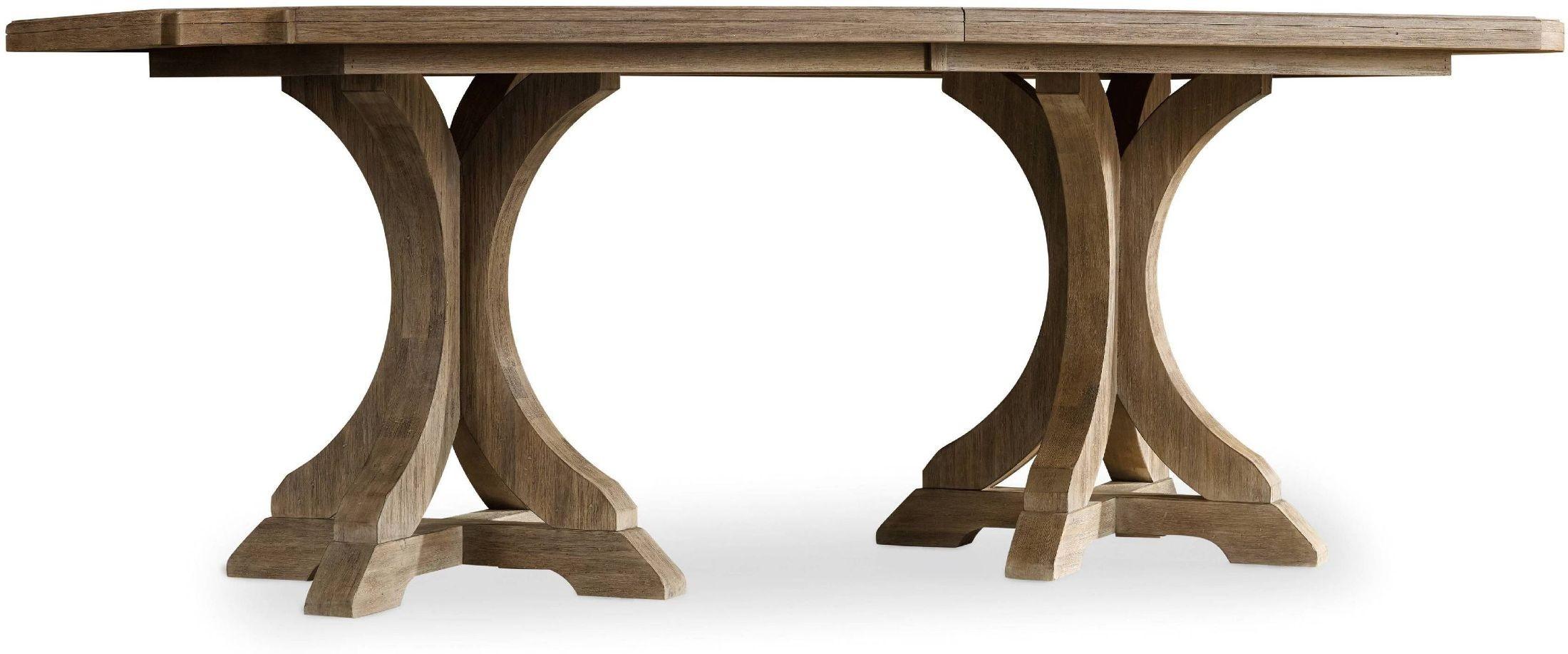 Corsica light wood rectangular pedestal extendable dining for Rectangular pedestal dining table
