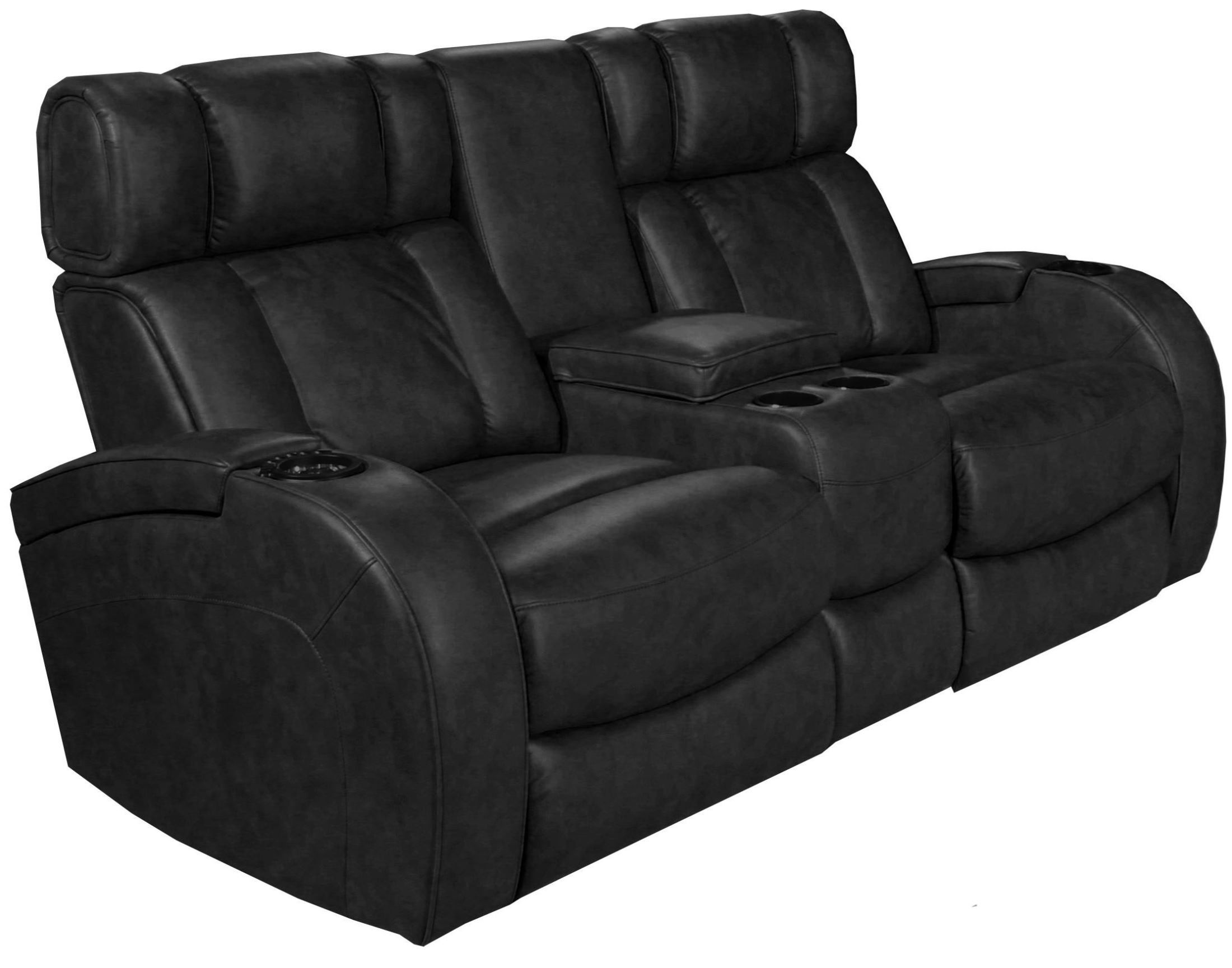 Andromeda Black Leather Gel Power Reclining Loveseat Ro8071 22p 121g Row One