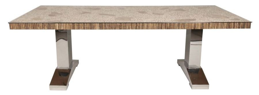 Magnolia branch rectangular trestle dining table from for Magnolia dining table