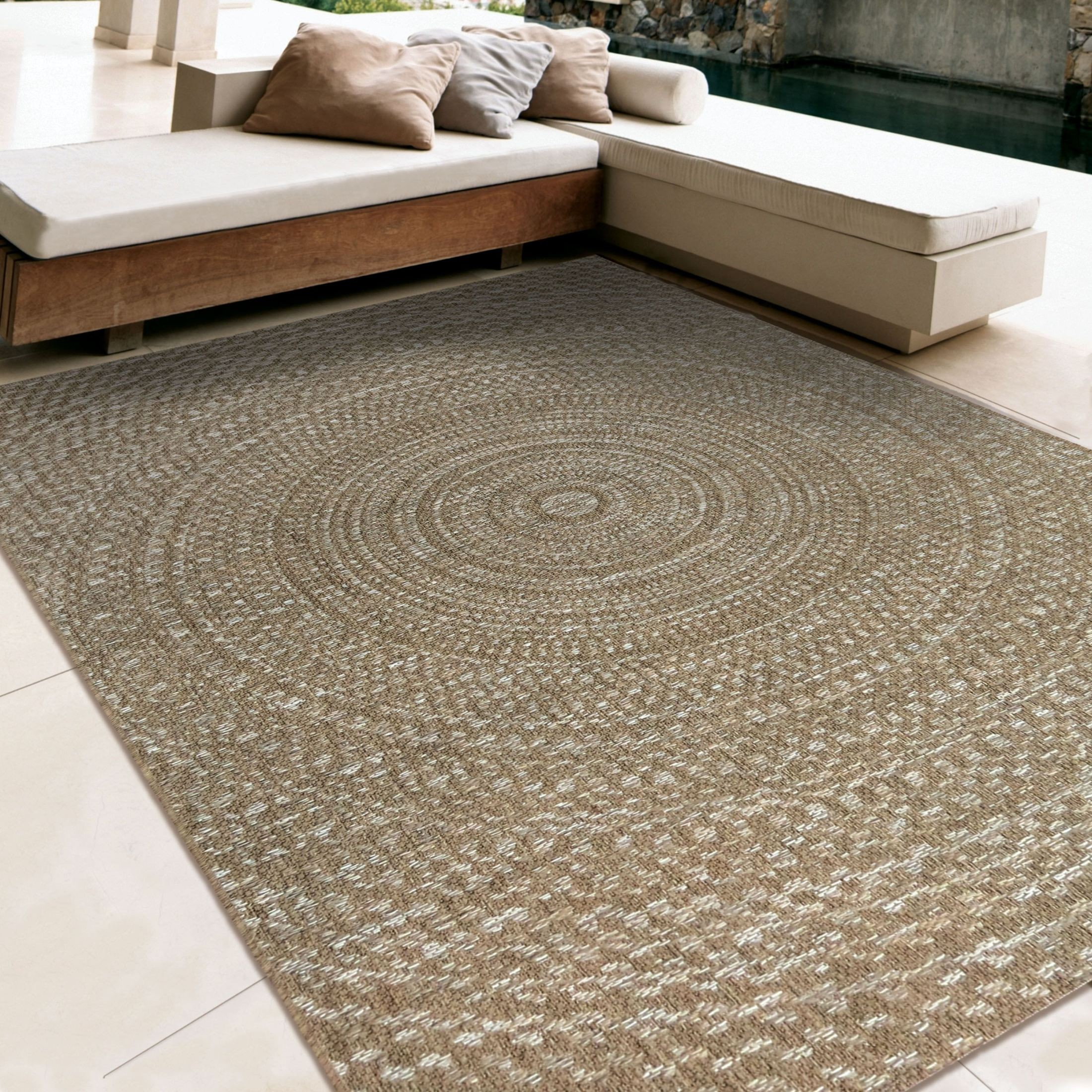 Orian rugs indoor outdoor circles cerulean gray brown for Grey and tan rug