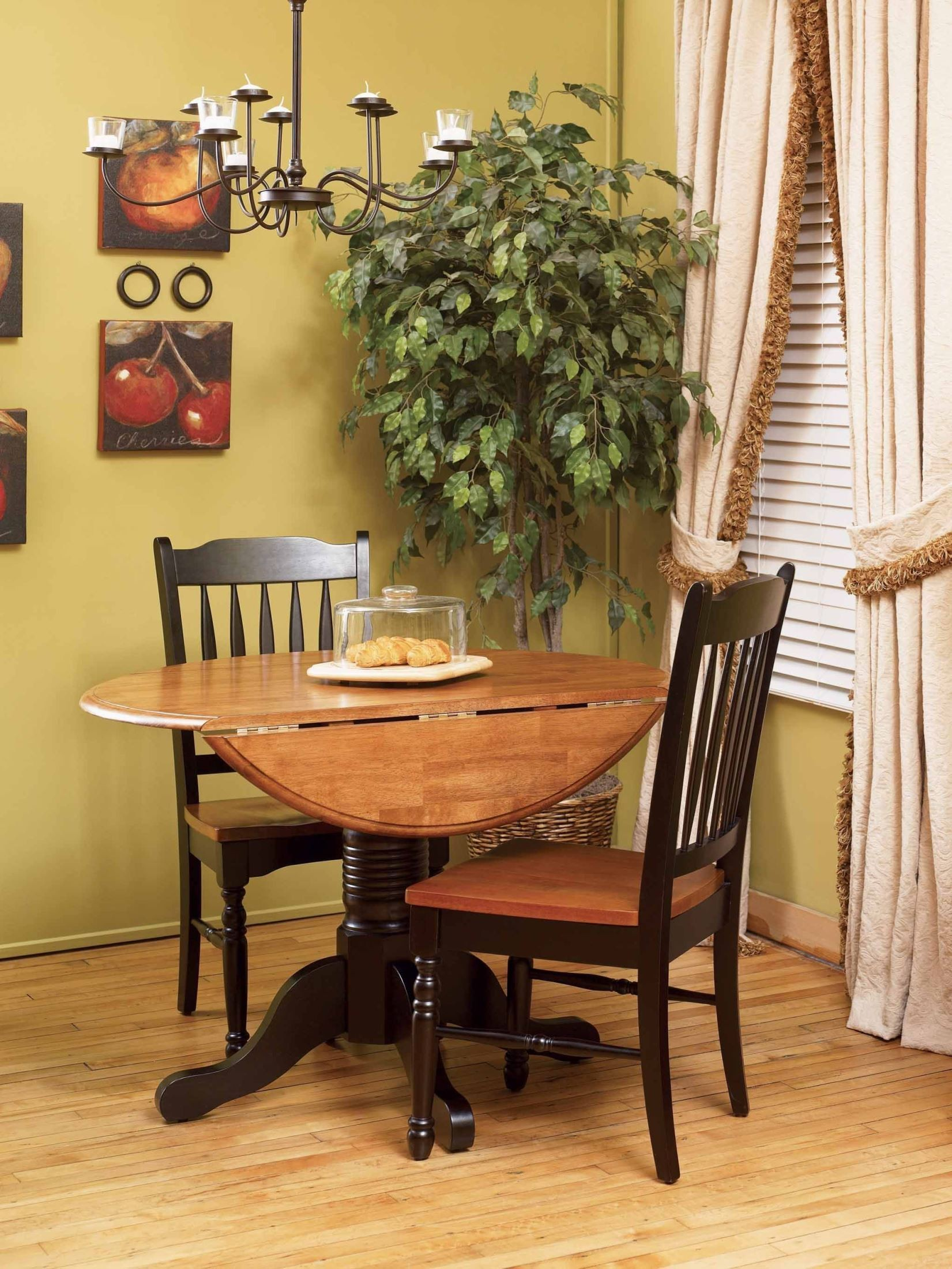 British isles 42 honey espresso round double drop leaf for Dining room leaf