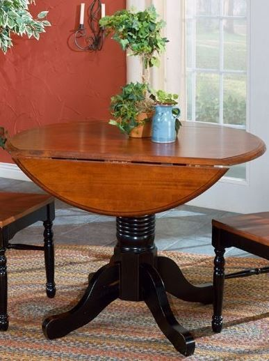 British isles 42 oak black round double drop leaf dining for Black dining table with leaf