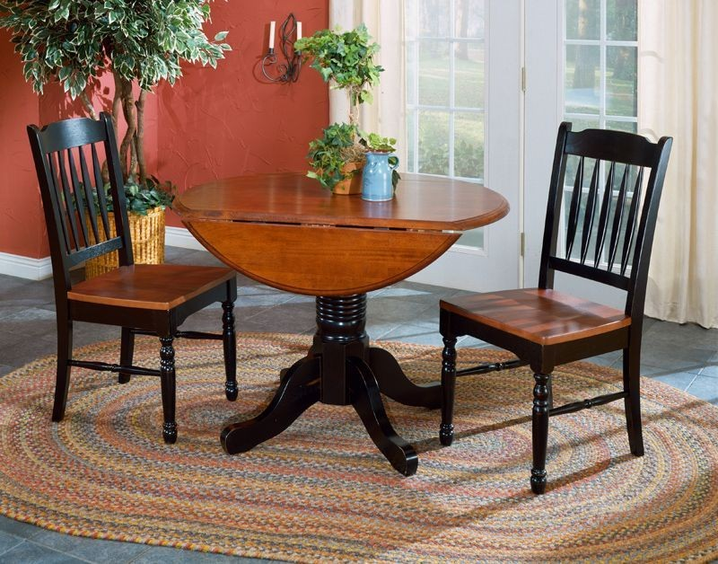 british isles 42 oak black round double drop leaf dining room set