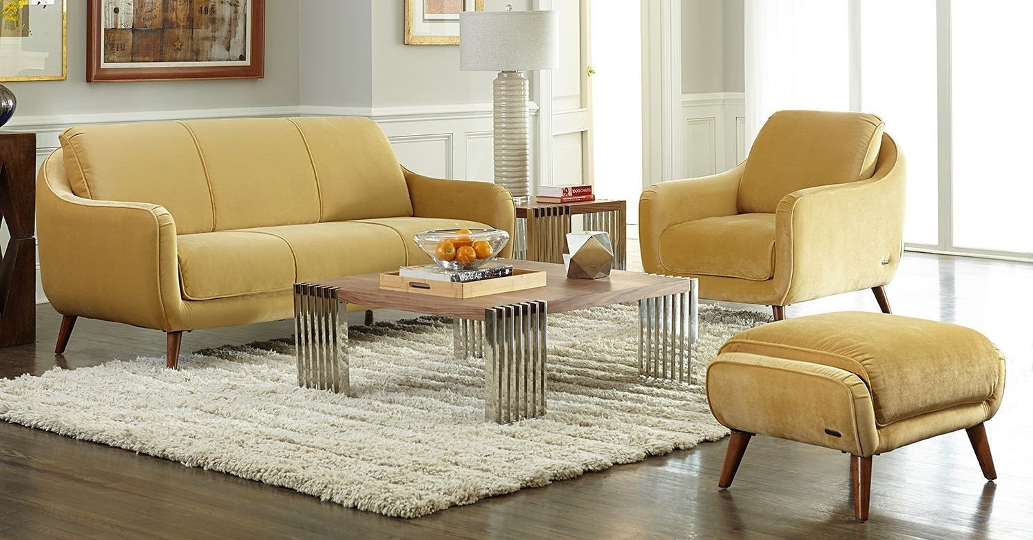 Studio Brussels Gold Upholstered Living Room Set St Brusl14 Sun 45 Aico