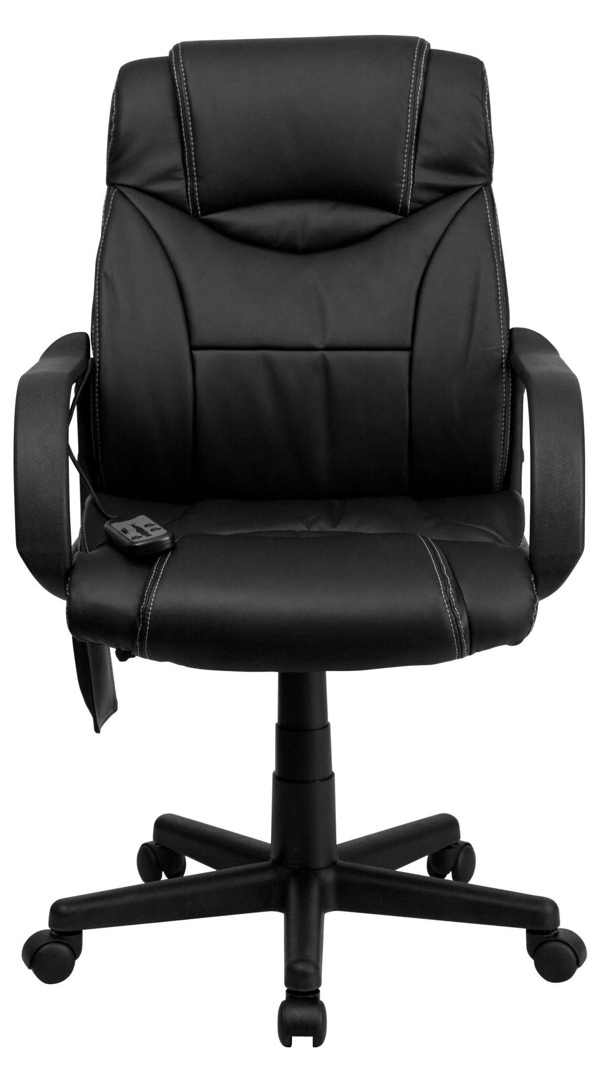 high back massaging black white stitching leather exec