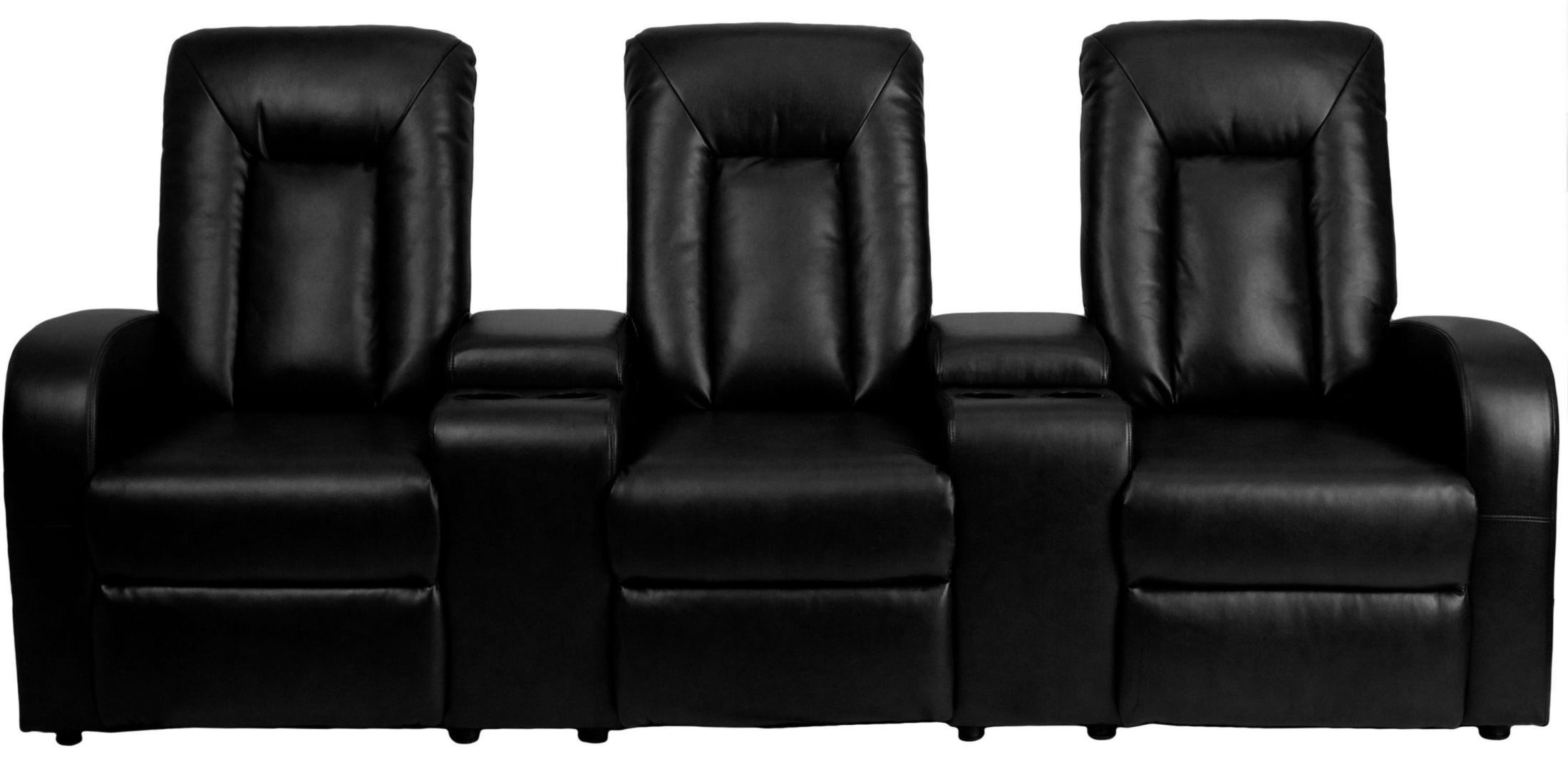 Black Leather 3 Seat Home Theater Console Recliner From Renegade BT 70259 3