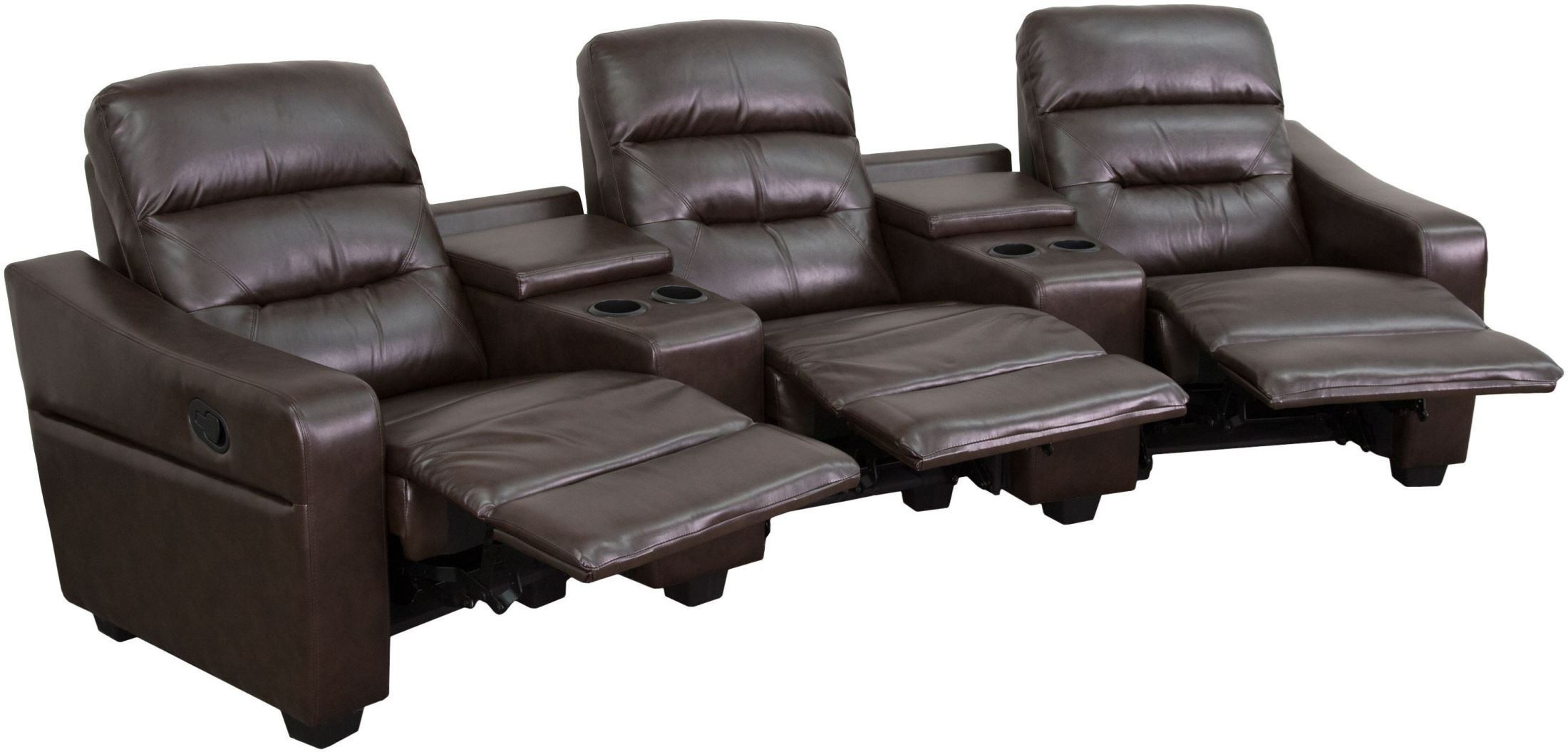 Futura Series 3-Seat Reclining Brown Leather Theater Seating, BT-70380-3-BRN-GG, Renegade Furniture