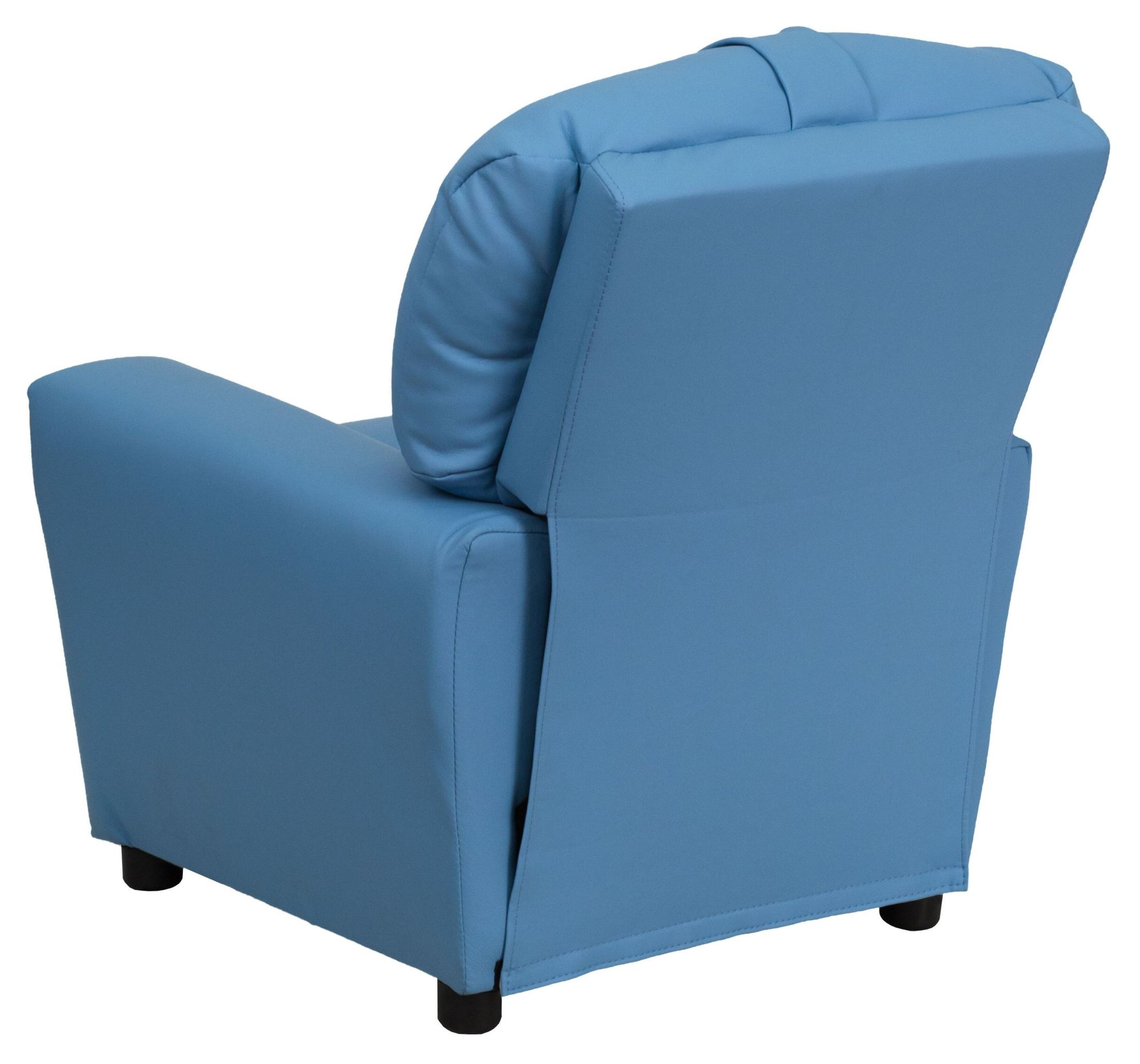 Light Blue Vinyl Kids Recliner With Cup Holder From
