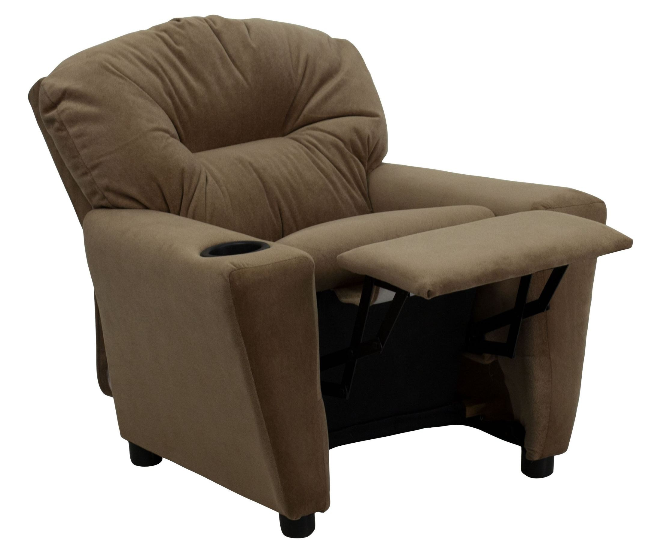 Brown Microfiber Kids Recliner With Cup Holder From