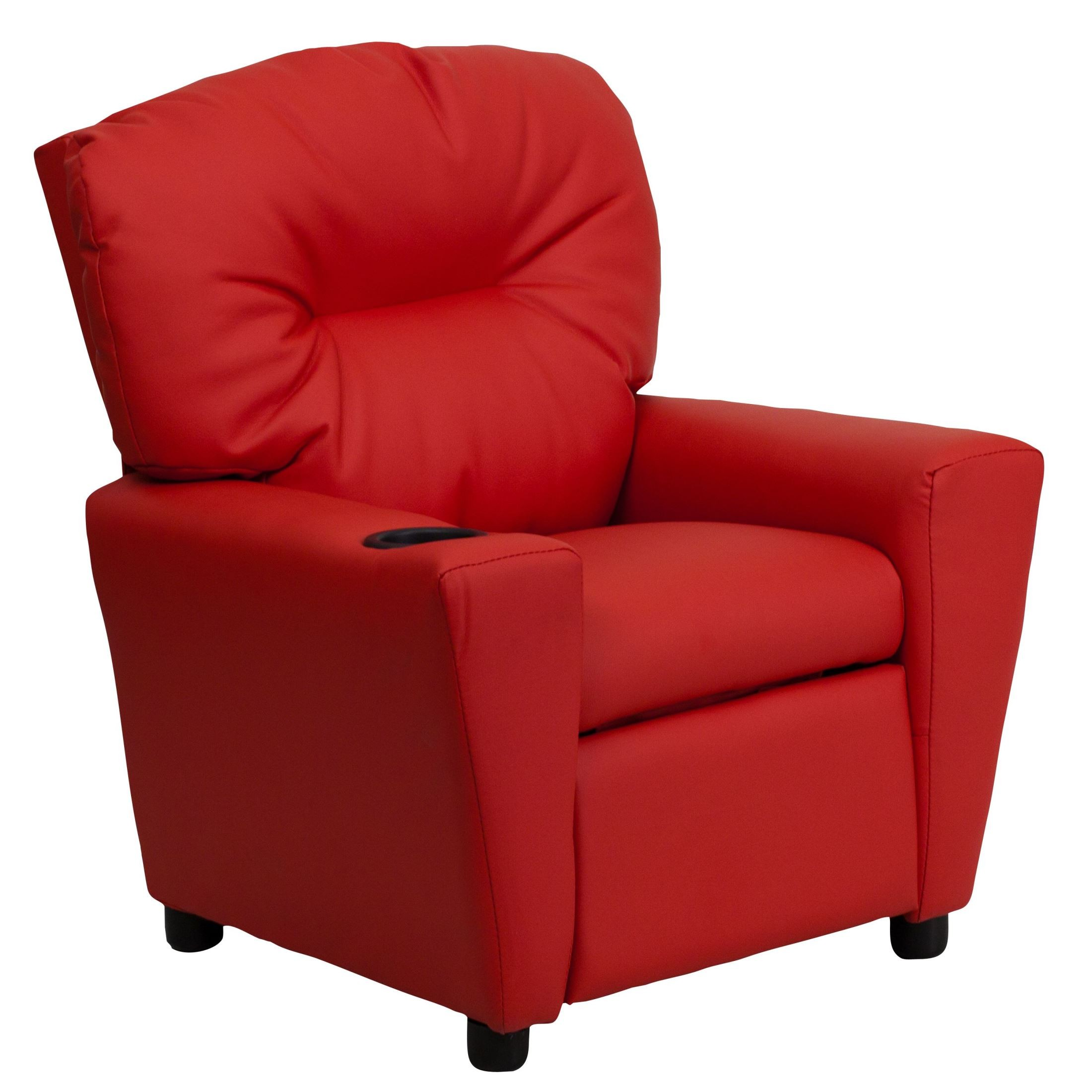 Red vinyl kids recliner with cup holder from renegade bt for Kids sitting furniture