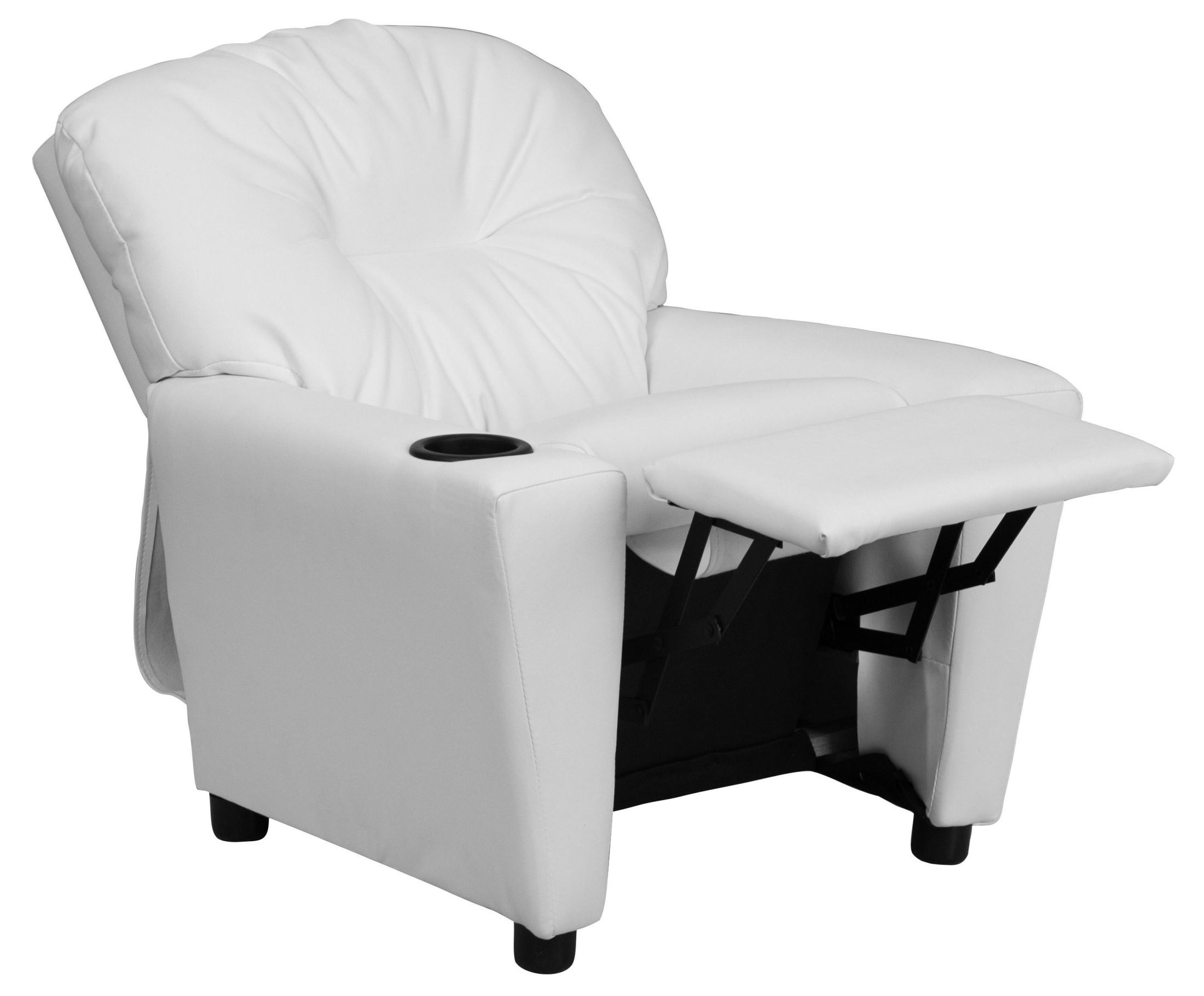 White Vinyl Kids Recliner With Cup Holder From Renegade