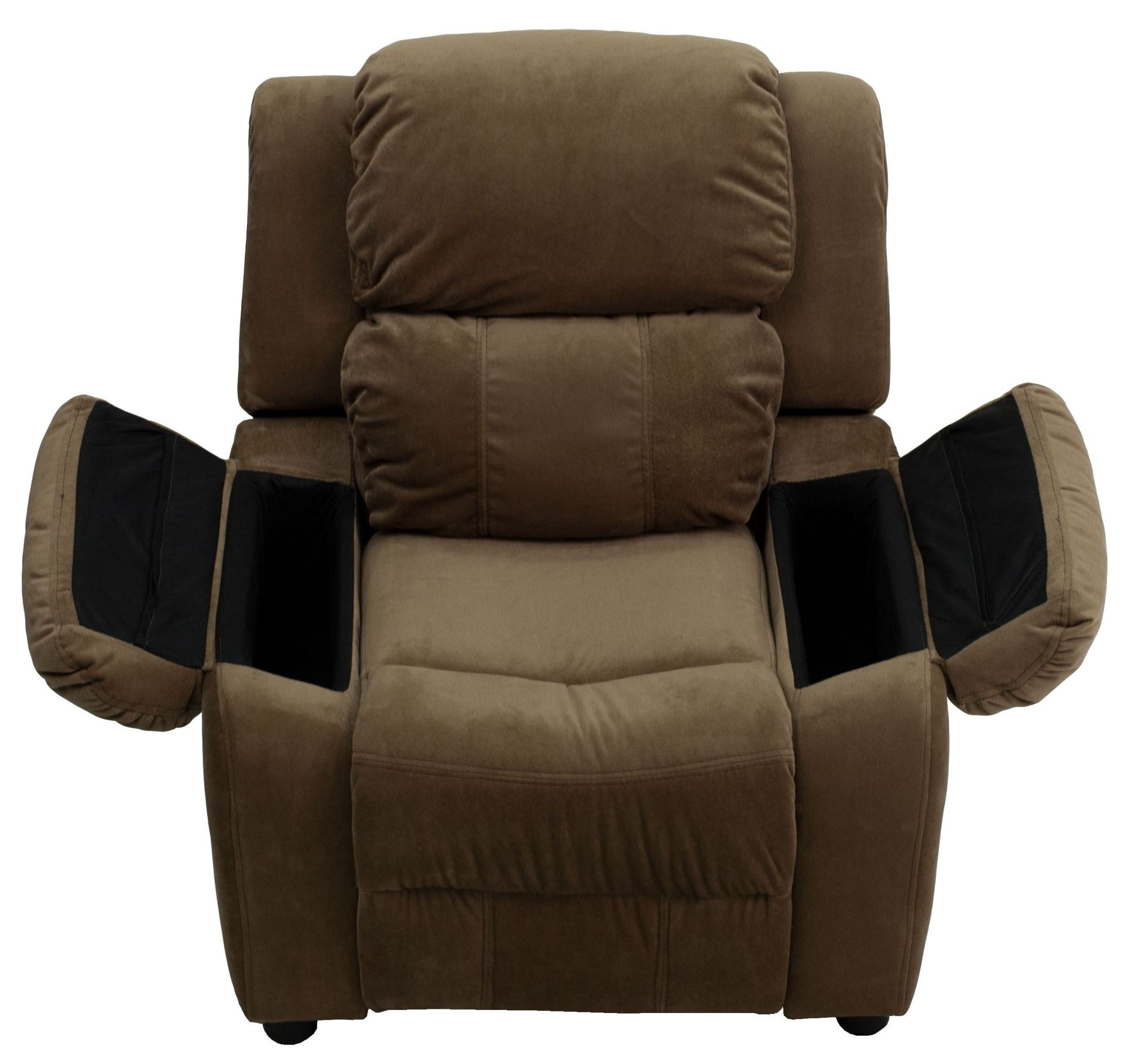 Deluxe heavily padded brown microfiber kids storage arm for Kids recliner chair