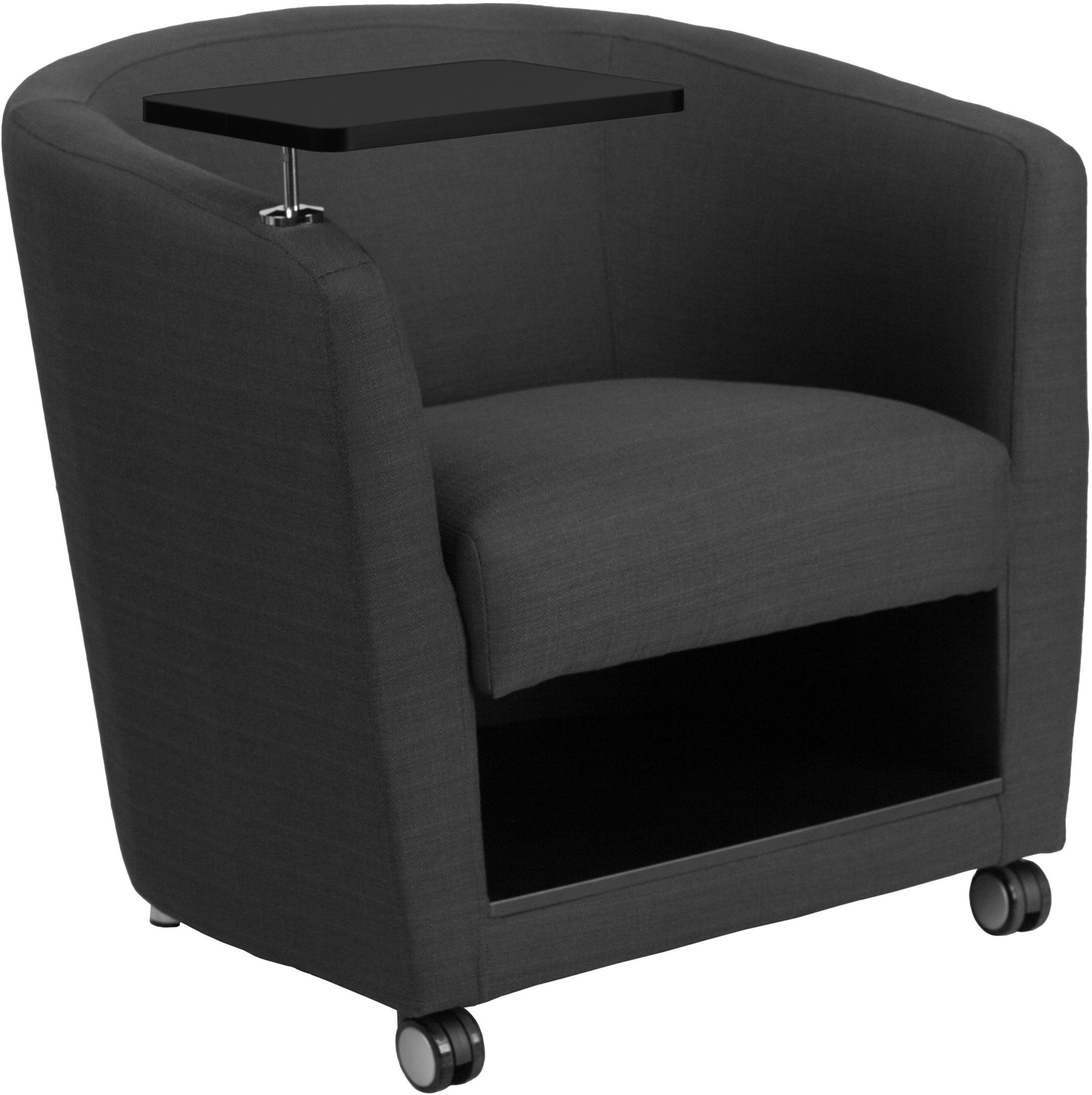 Charcoal Gray Fabric Guest Chair With Tablet Arm Front