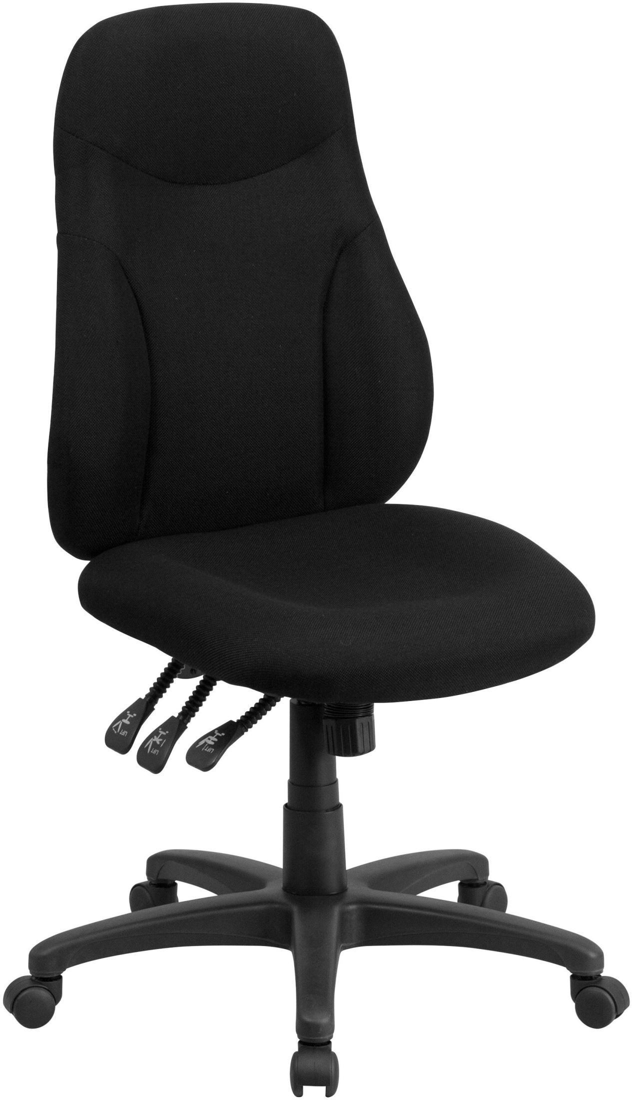 High Back Black Fabric Multi Functional Ergonomic Swivel Task Chair BT 90297