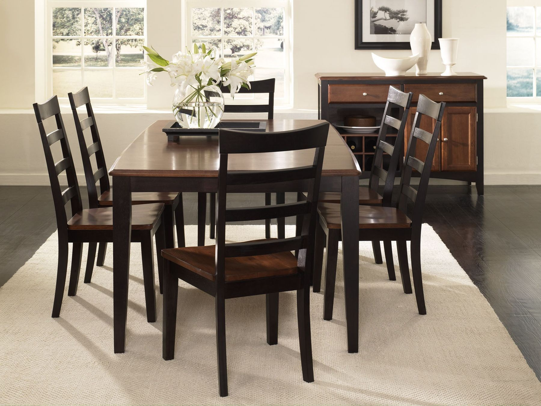 Bristol Point 78 Oak Espresso Extendable Rectangular Dining Room Set B