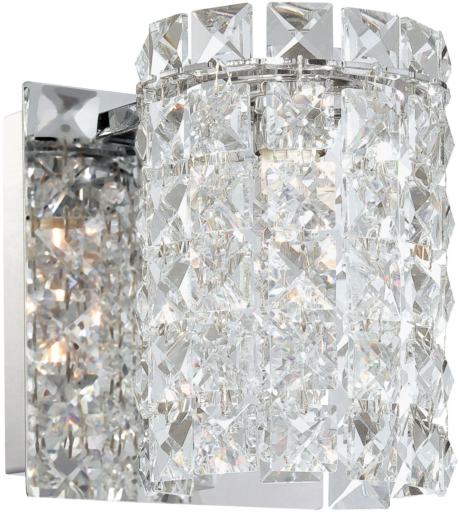 Queen 1 Chrome And Clear Crystal Glass Light Vanity, BV1301-0-15, Alico