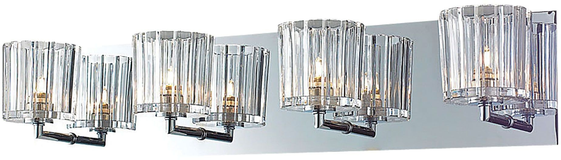 Sprocket Chrome And Clear Sprocket Cut Glass 4 Light Vanity, BV4004-0-15, Alico