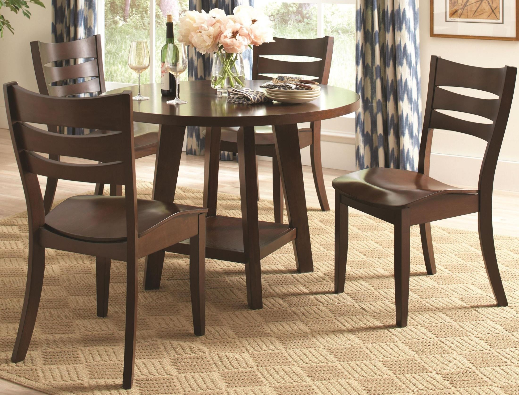 Byron dark brown round dining room set from coaster for Brown dining room set