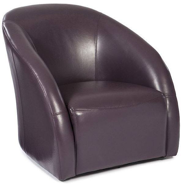 Maryland plum leather swivel tub chair and ottoman wh for Leather swivel tub chair