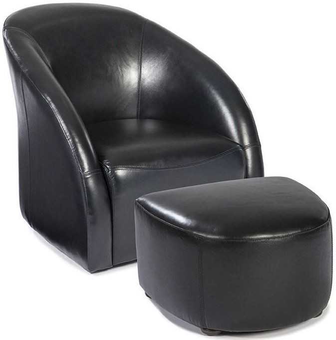 Maryland regal blue leather swivel tub chair and ottoman for Leather swivel tub chair