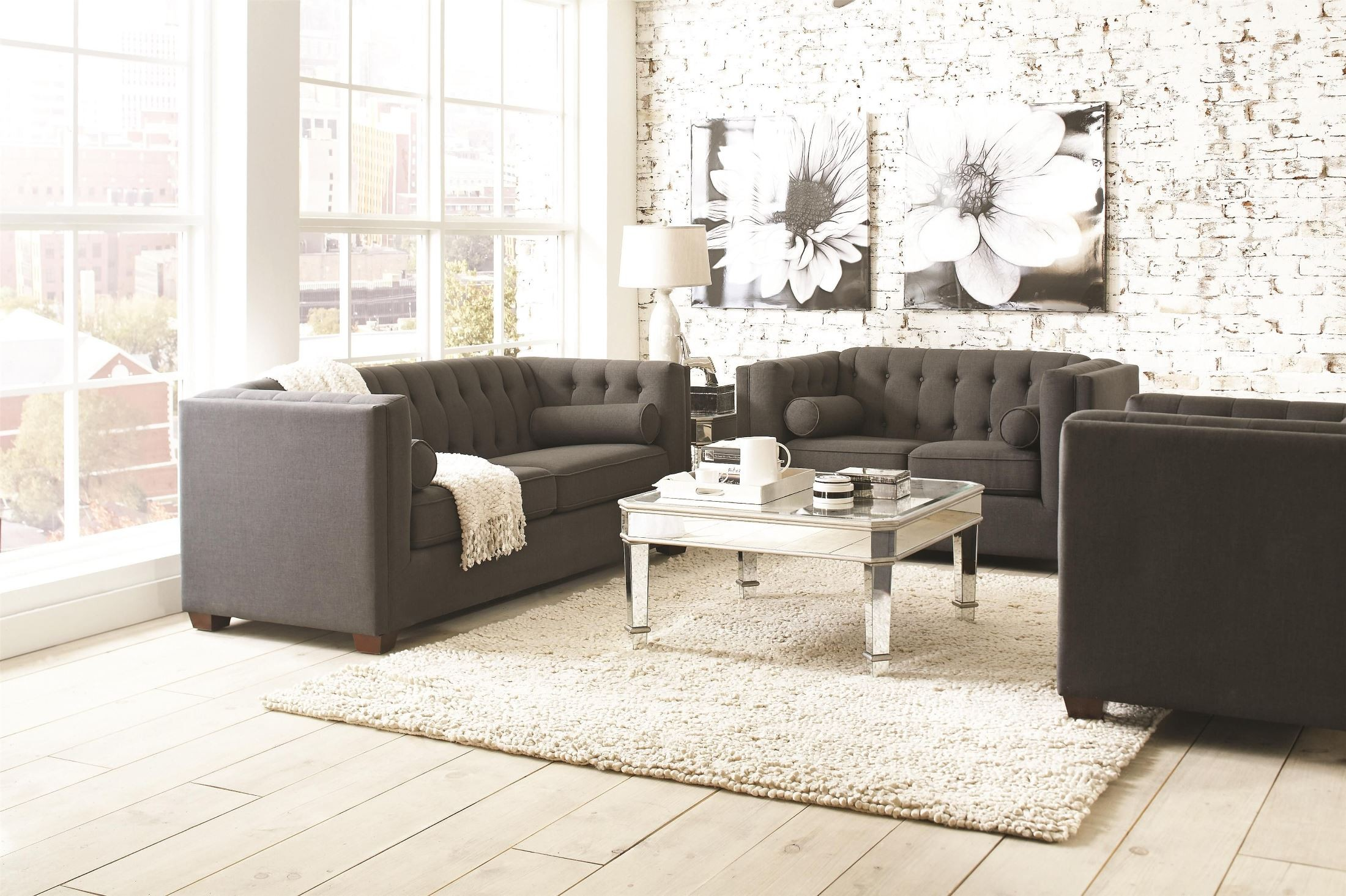 Cairns charcoal living room set from coaster 504901 coleman furniture for Charcoal living room furniture