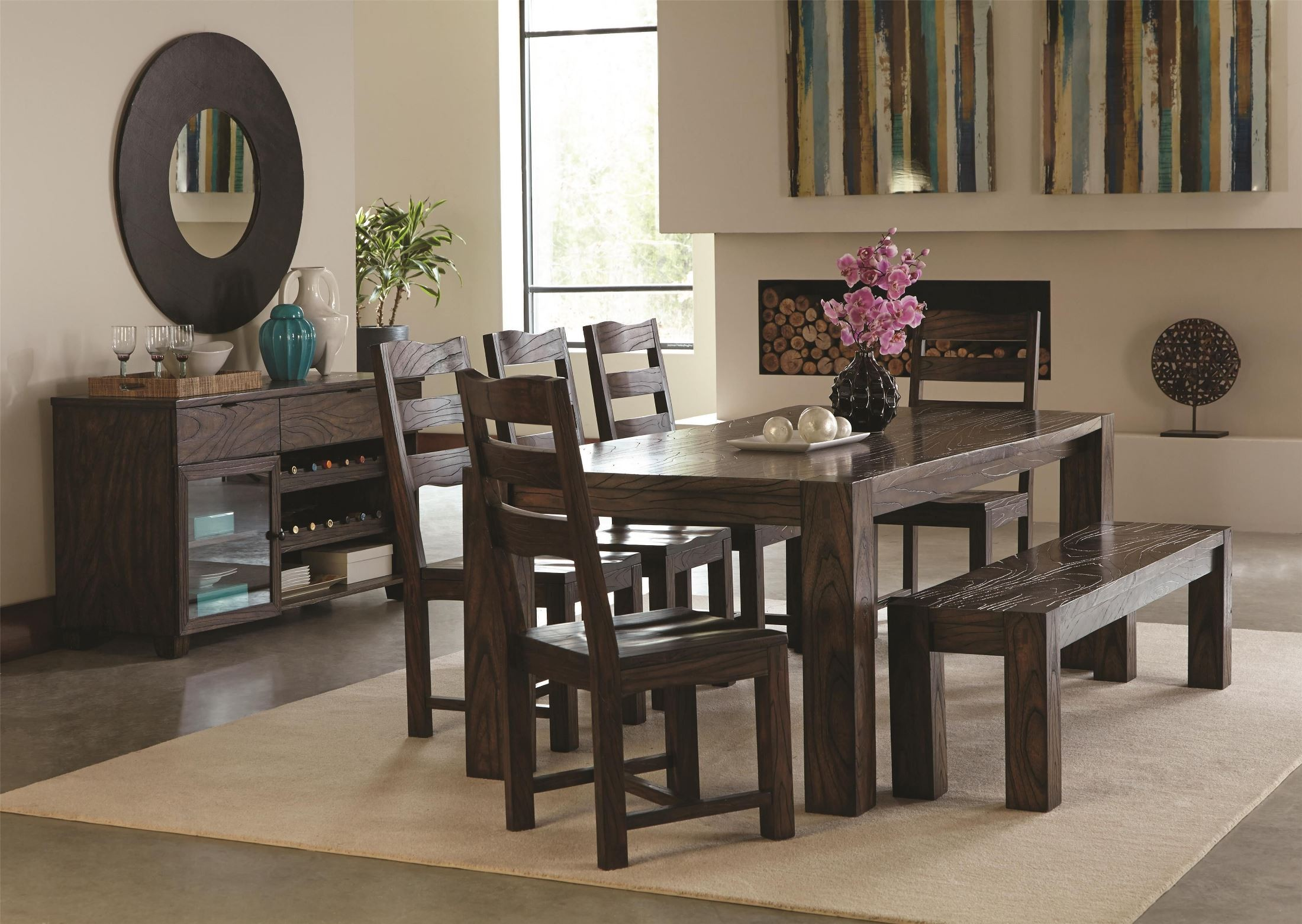 Calabasas dark brown dining room set from coaster 121151 for Dark brown dining room