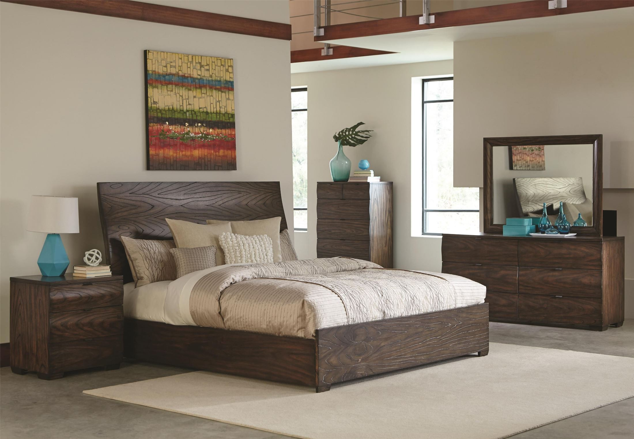Calabasas dark brown panel bedroom set from coaster 203791q coleman furniture for Black brown bedroom furniture