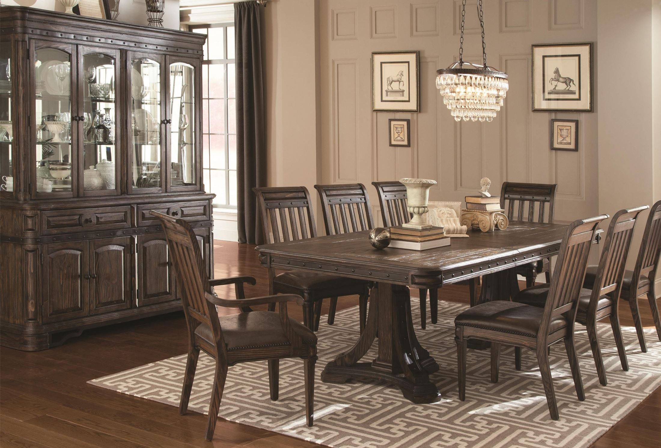 Carlsbad dark brown rectangular extendable dining room set for Brown dining room set