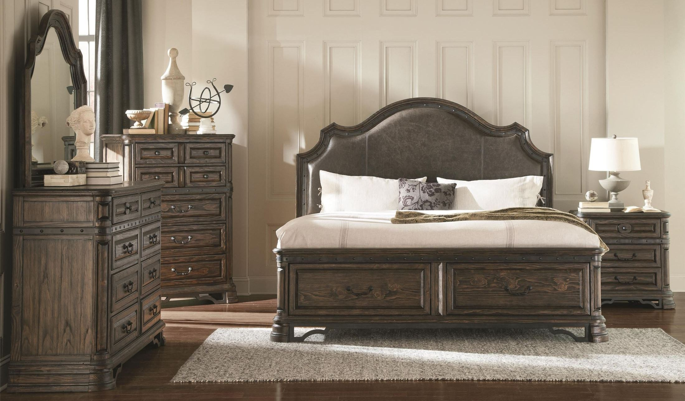 carlsbad dark brown upholstered panel storage bedroom set from coaster