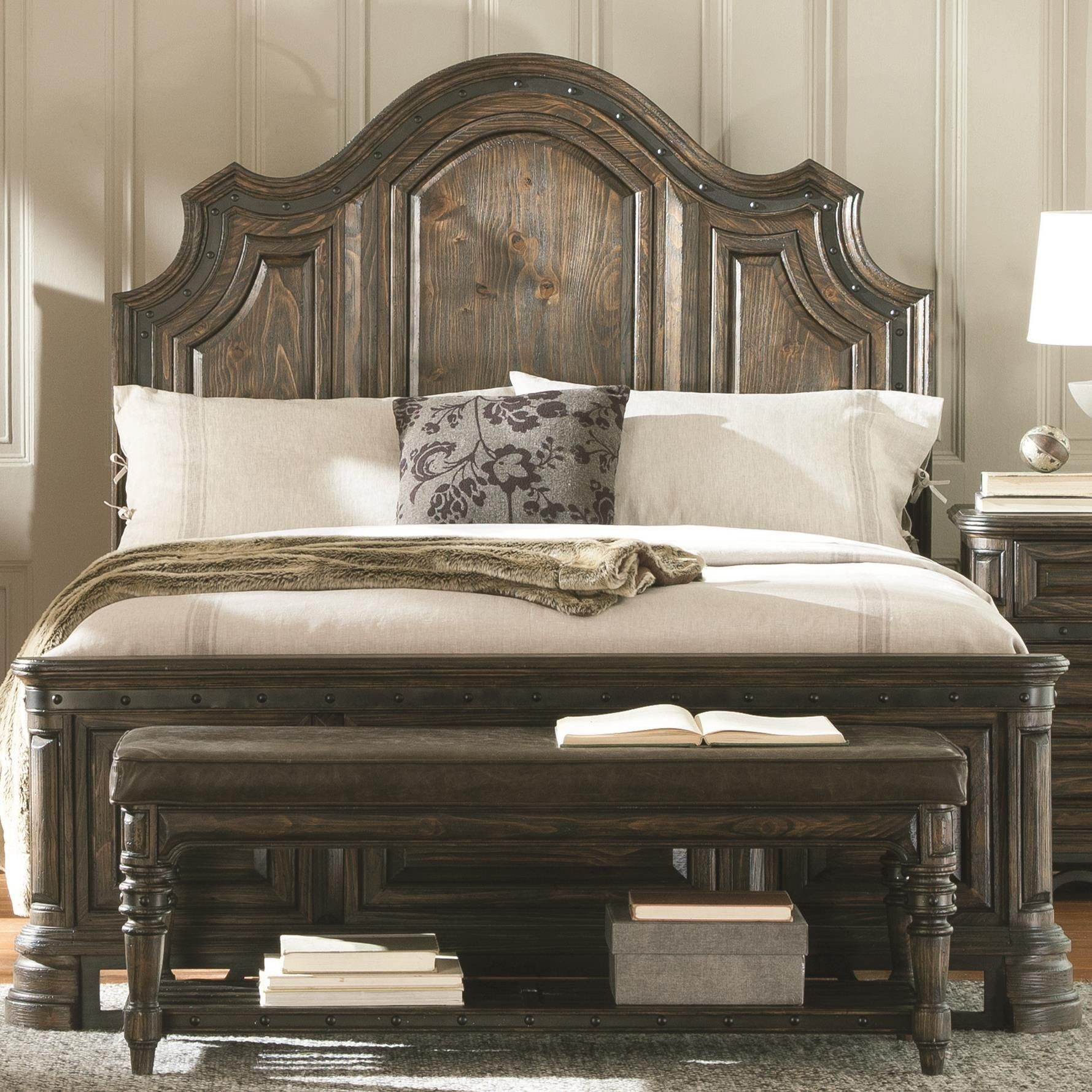 Carlsbad dark brown king panel bed from coaster 204041ke for Bedroom set with mattress sale