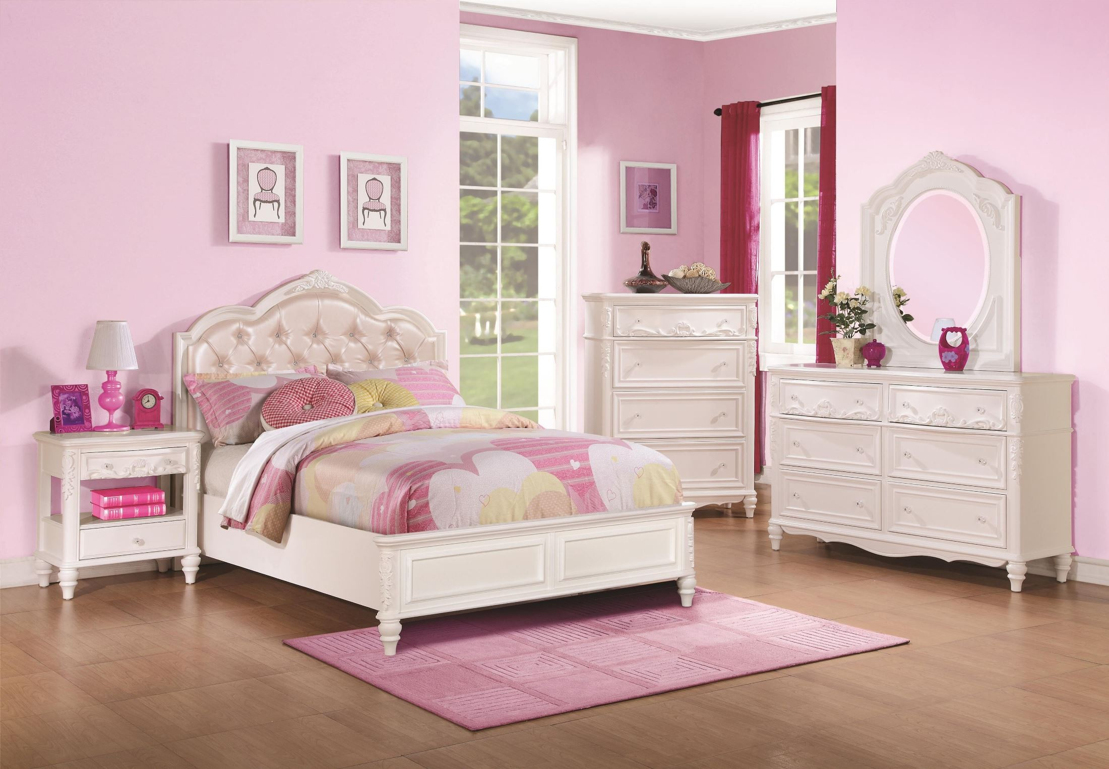 Caroline Diamond Tufted Youth Platform Bedroom Set From