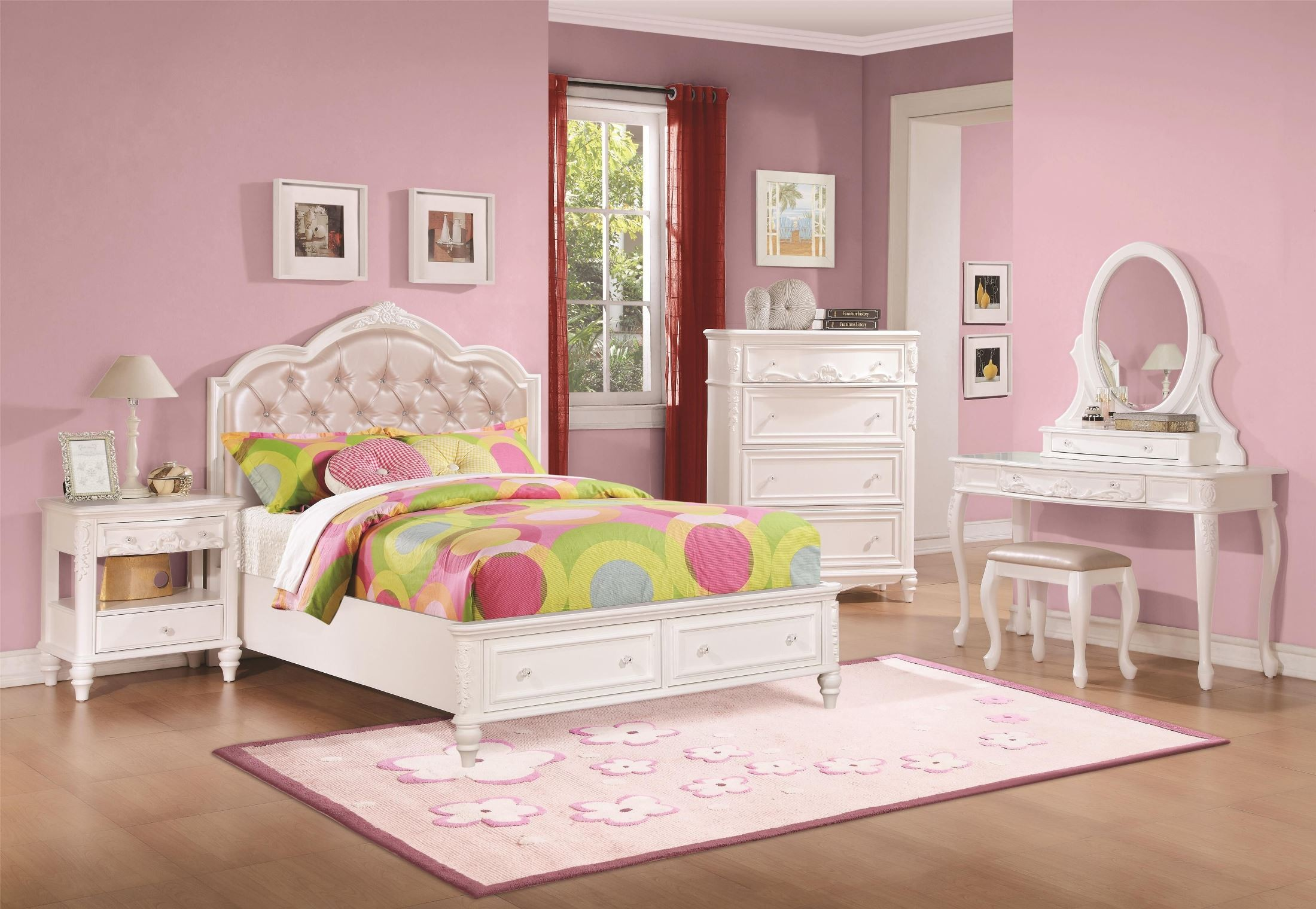 caroline diamond tufted youth storage platform bedroom set