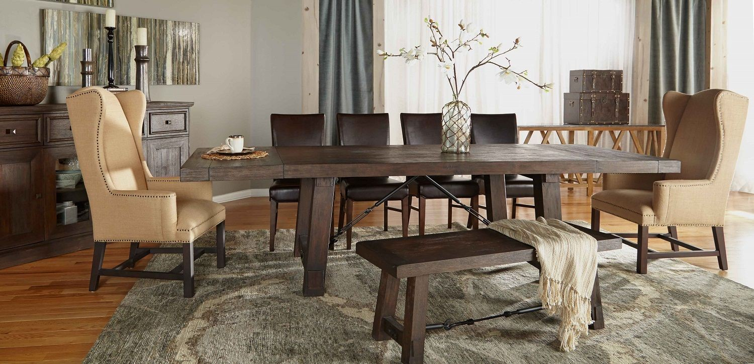 Carter rustic java rectangular extendable trestle dining for Dining room tables london