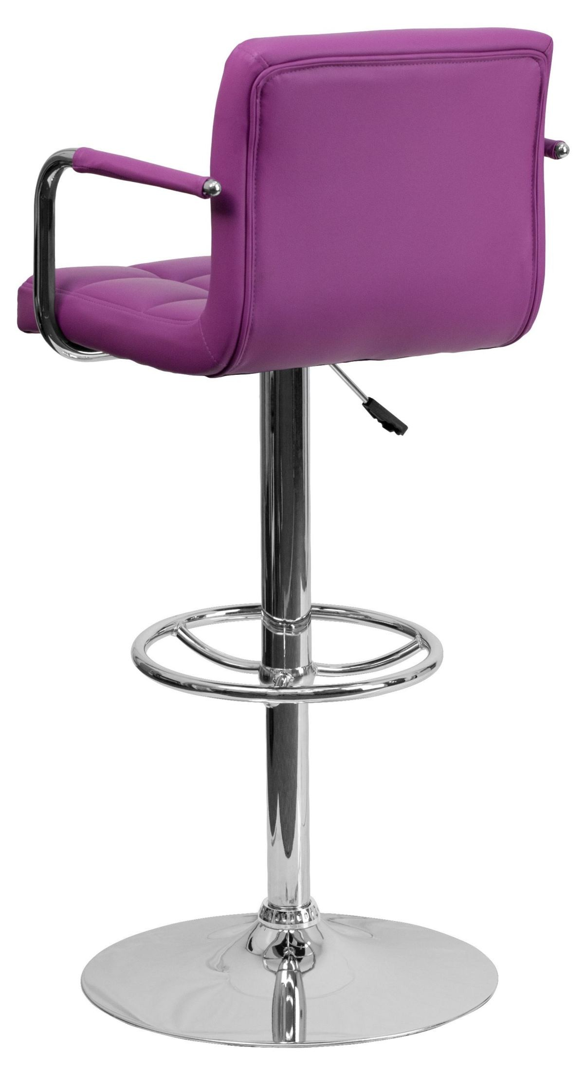 Purple Quilted Vinyl Adjustable Height Arm Bar Stool From