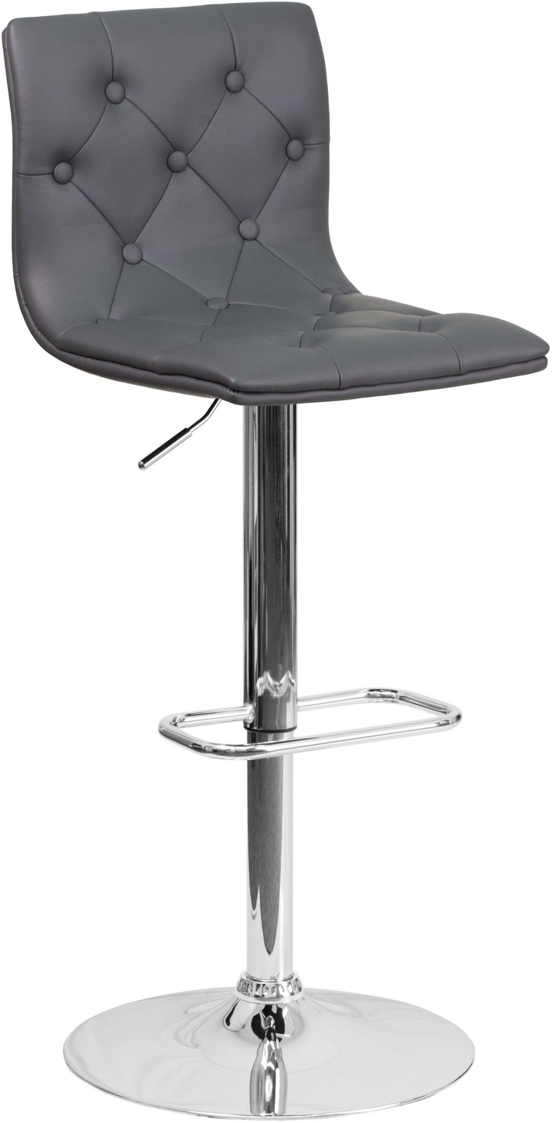 Contemporary Tufted Gray Vinyl Adjustable Height Bar Stool  : ch 112080 gy gg from colemanfurniture.com size 1082 x 2200 jpeg 159kB