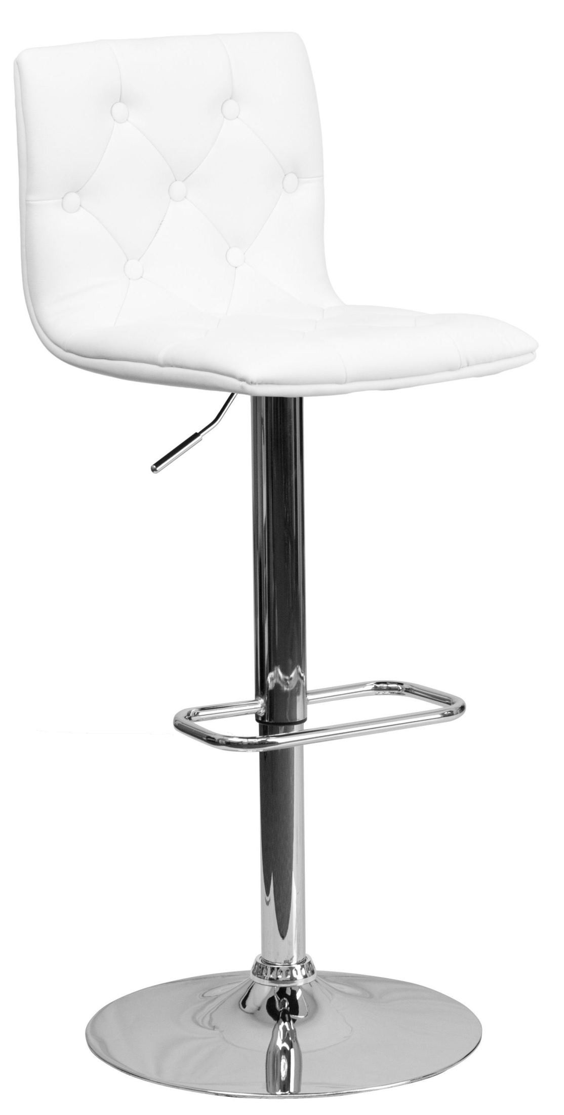 Tufted White Vinyl Adjustable Height Bar Stool From