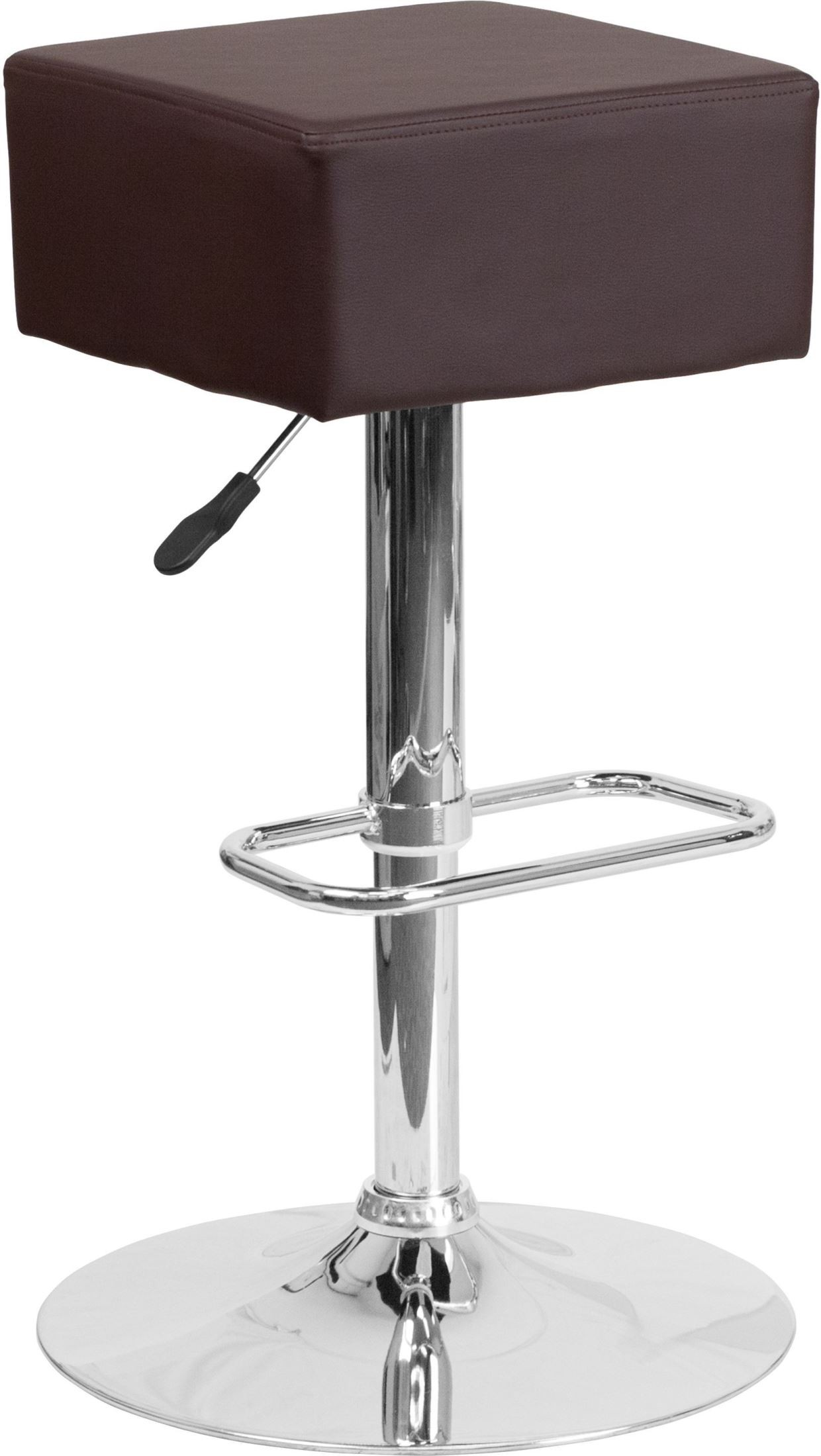 Square Swivel Seat Brown Vinyl Adjustable Height Barstool