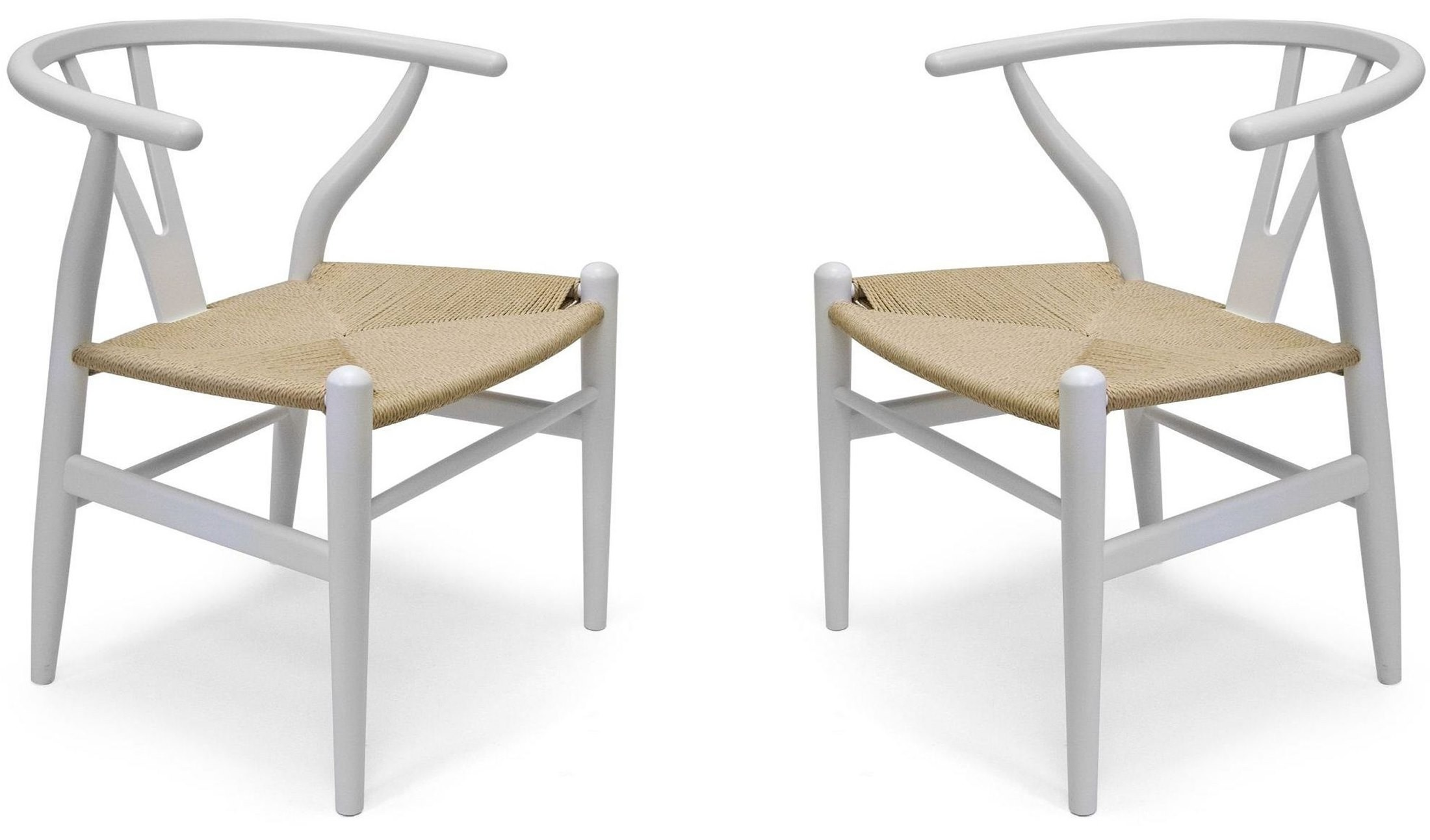 Modern classics albany white chair set of 2 from aeon for Classic furniture new albany in